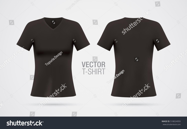 Womens vneck tshirt vector template short stock vector for V neck black t shirt women s