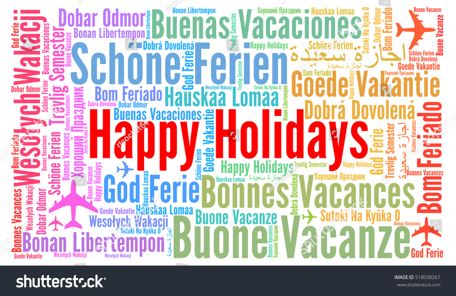 Happy Holidays Word Cloud Different Languages Stock