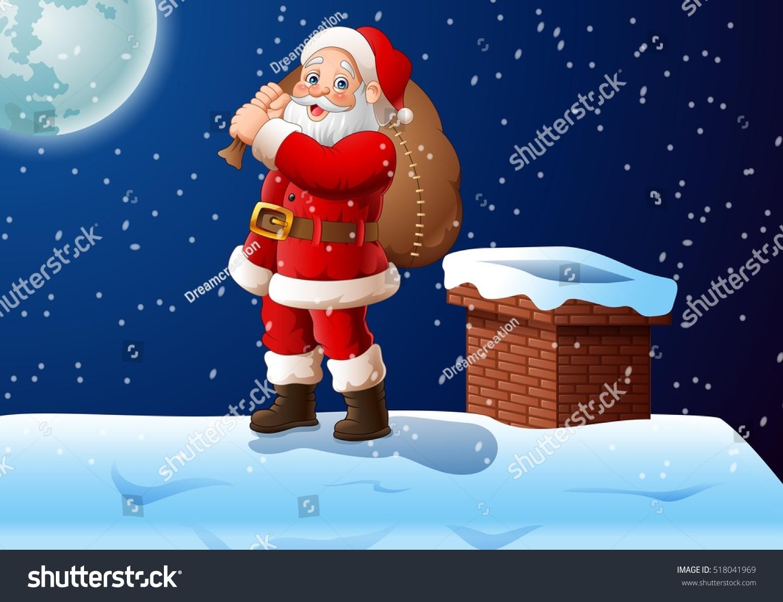 Cartoon Santa Claus Standing On Roof Stock Vector