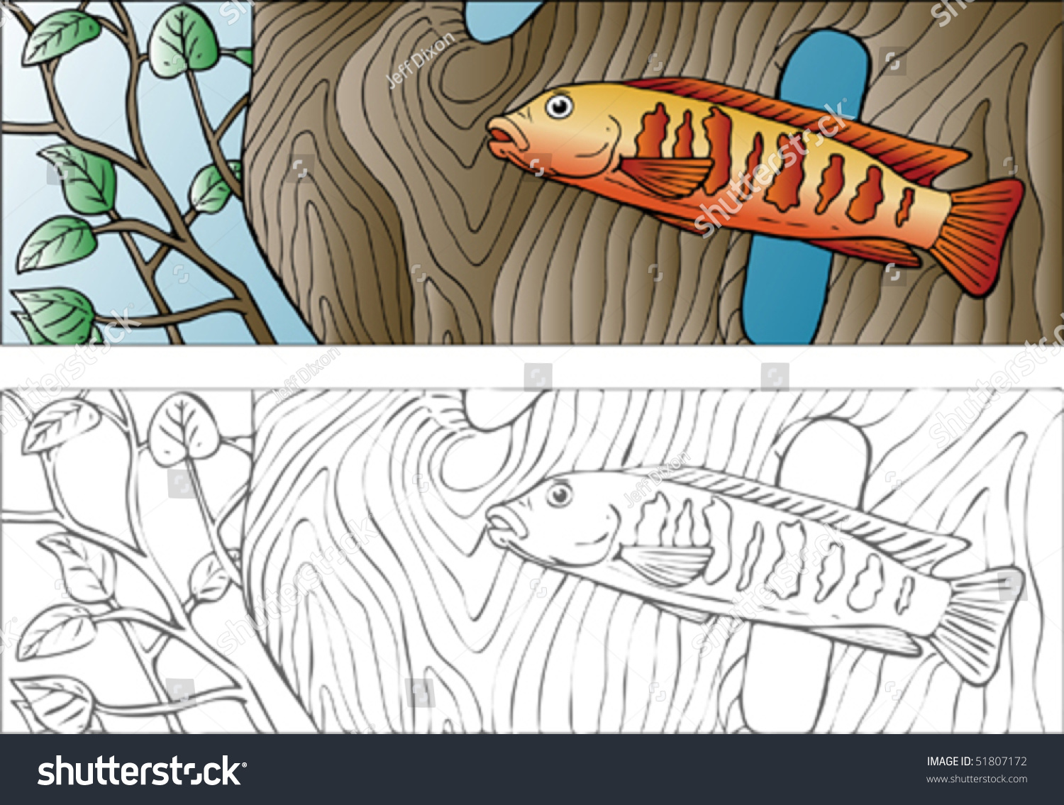 Vector Illustration Of A Cichlid Type Fish.