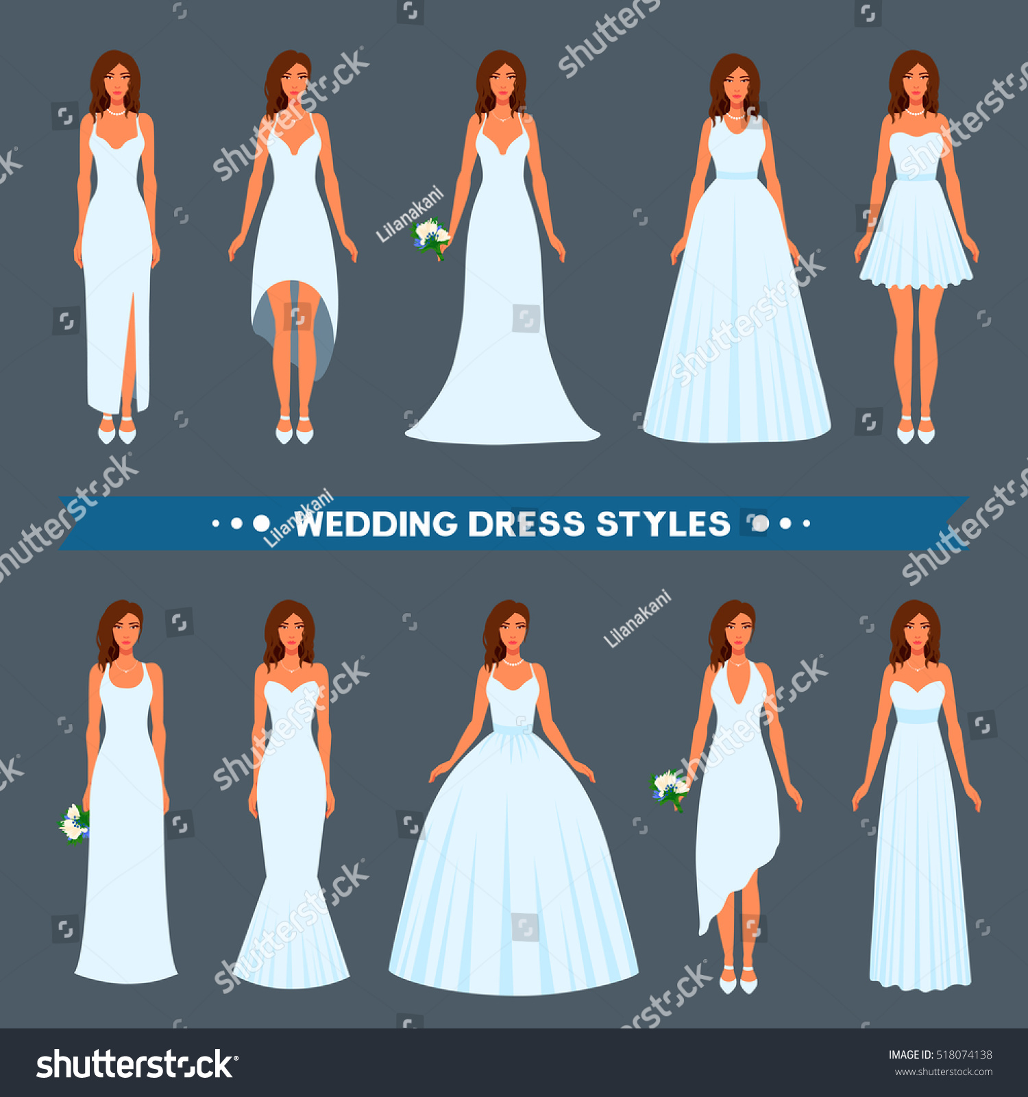 Variety Styles Types Fashions Wedding Dress Stock Vector 518074138 ...
