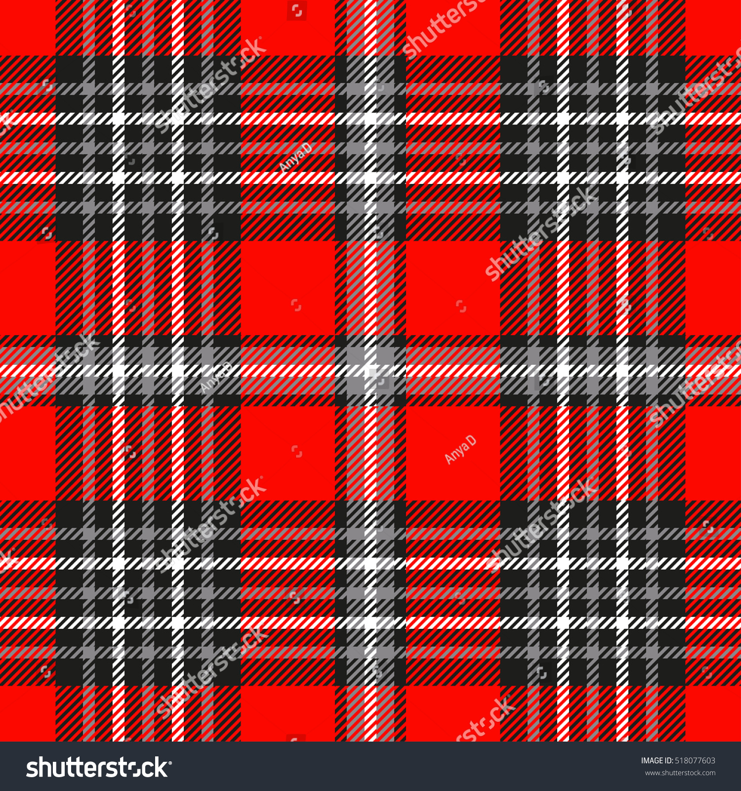 Plaid Check Pattern Red Grey Black Stock Vector 518077603 ...