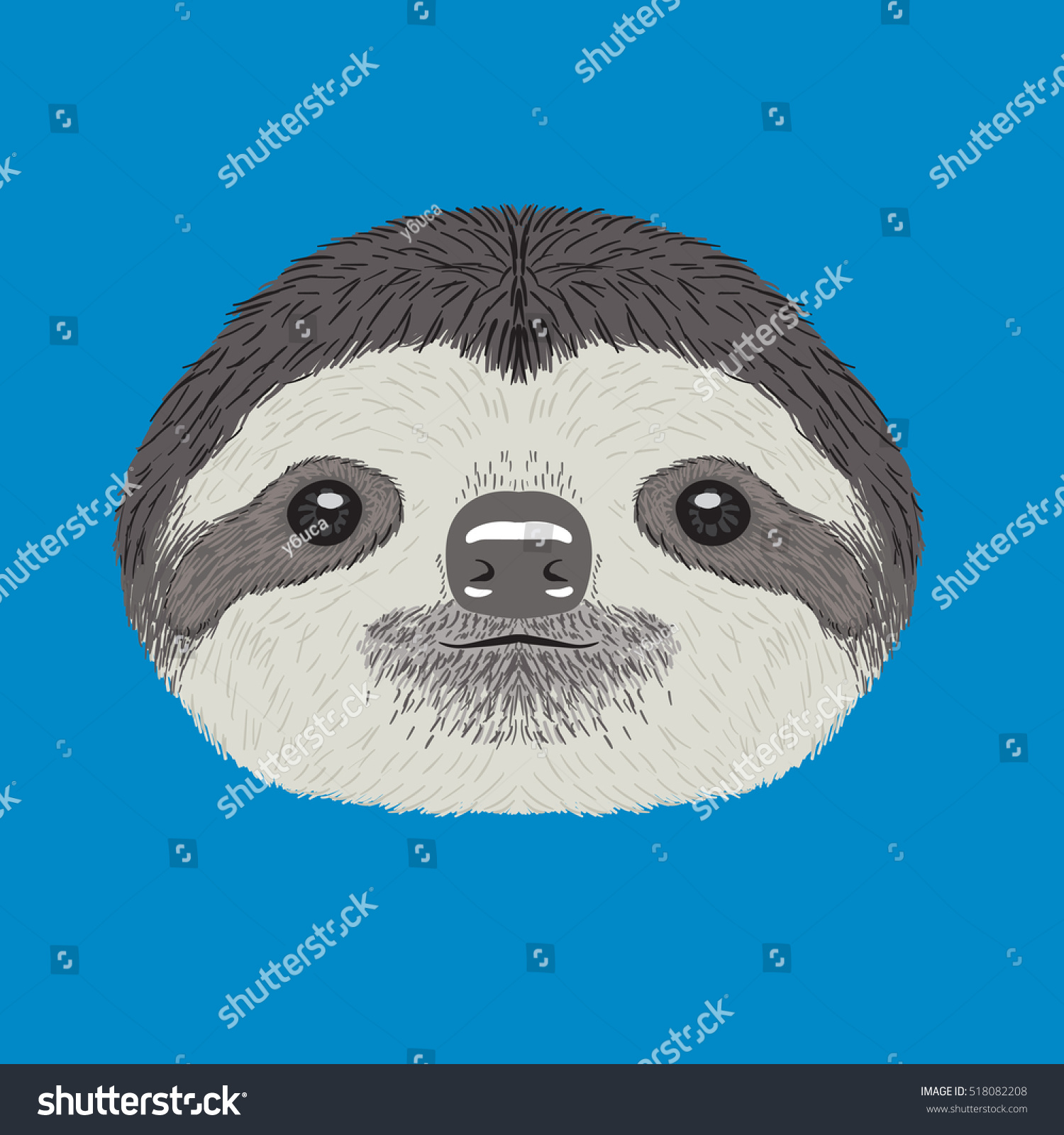 Sloth Vector Illustration - 518082208 : Shutterstock
