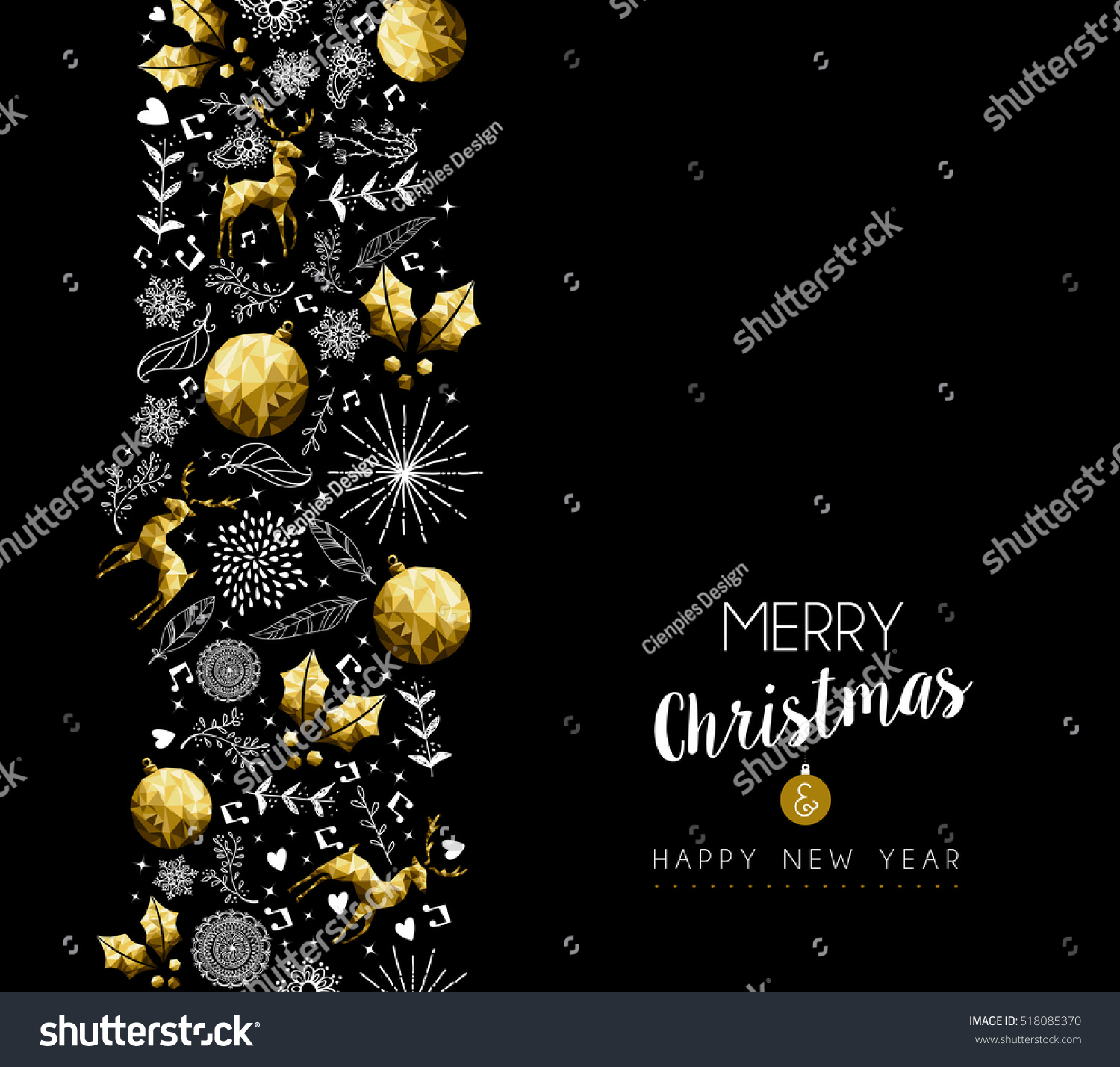 merry christmas happy new year gold low poly pattern decoration with deer nature and holiday