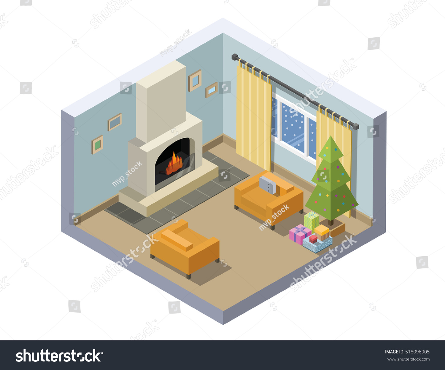 Vector Isometric Illustration Of Christmas Eve Room, Set Of Living Room  Furniture, Christmas Decoration