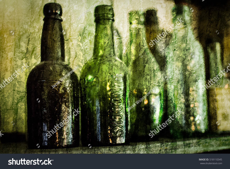 Old Vintage Bottles Fine Art Photography Still Life Shallow Depth Of Field Vignette On Brick Wall