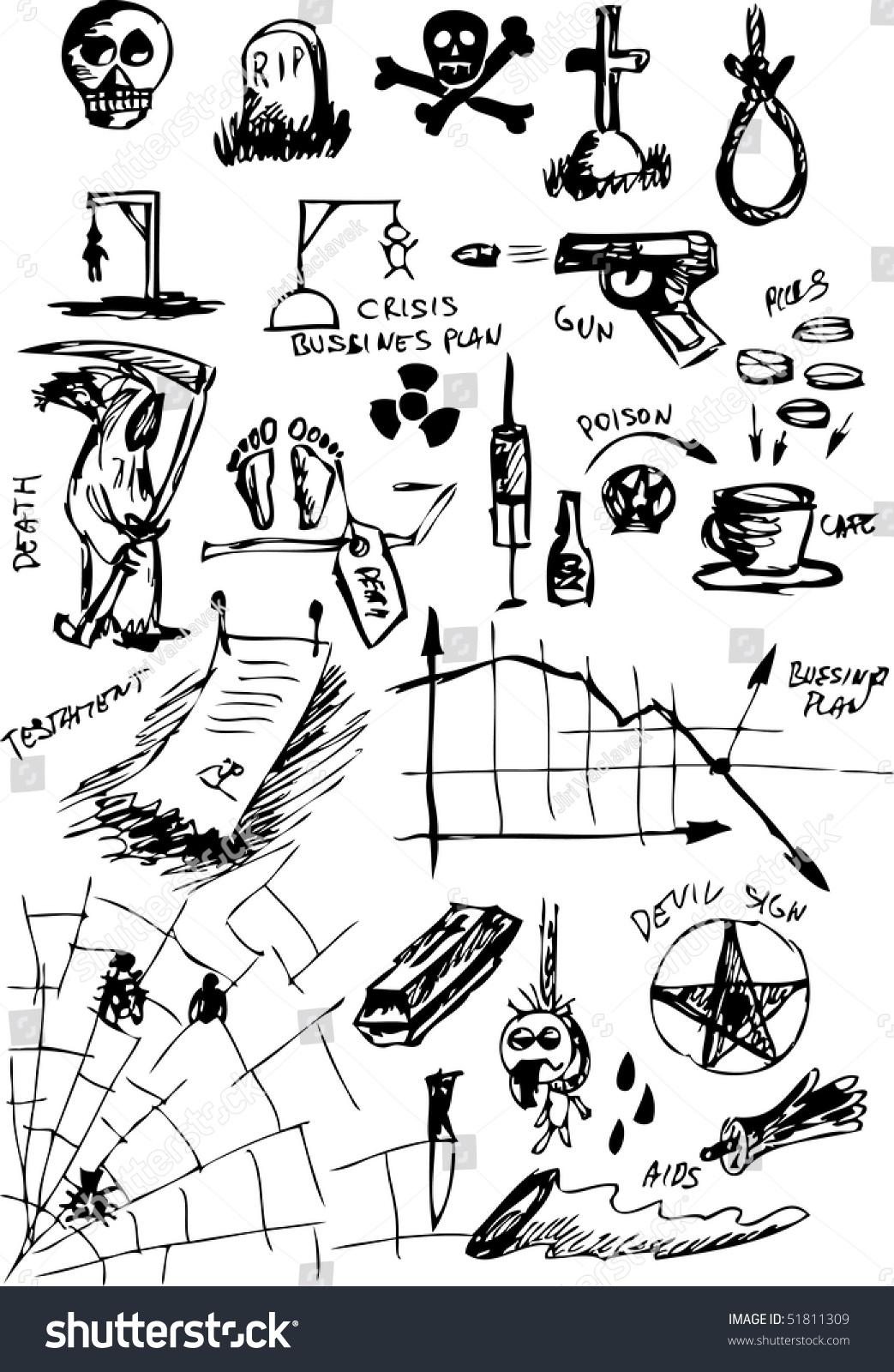 Hand Draw Death Symbols Stock Vector Royalty Free 51811309