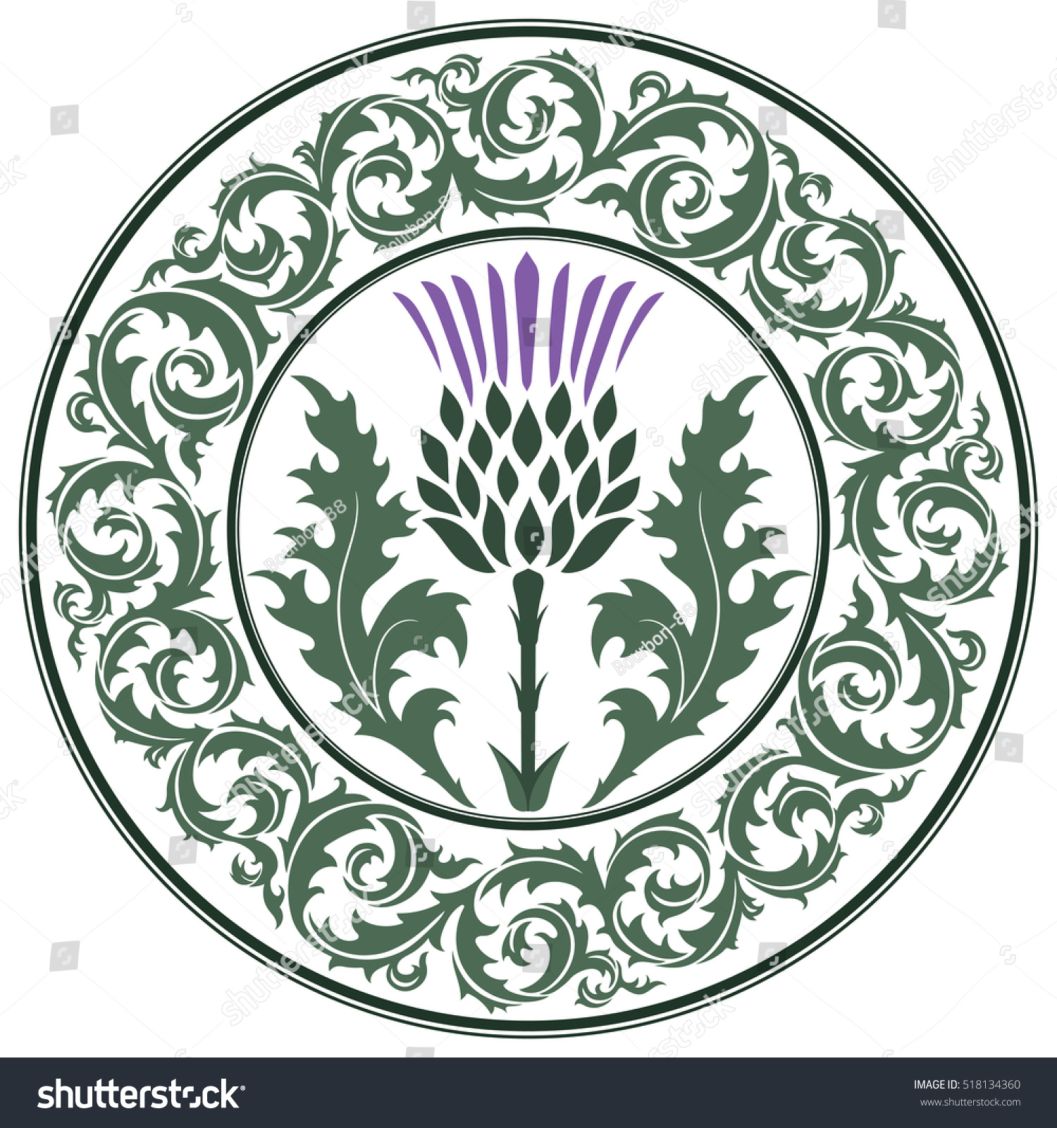 Thistle Flower Ornament Round Leaf Thistle Stock Vector 2018