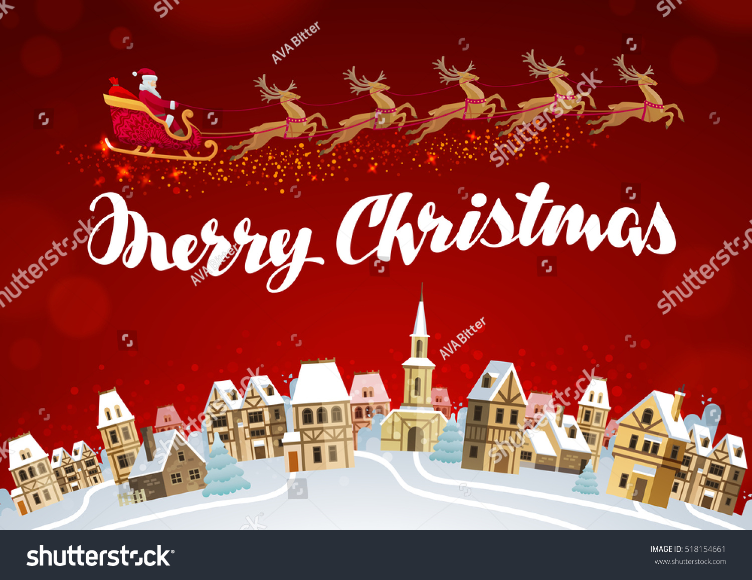 Merry Christmas Xmas Greeting Card Vector Stock Vector 518154661