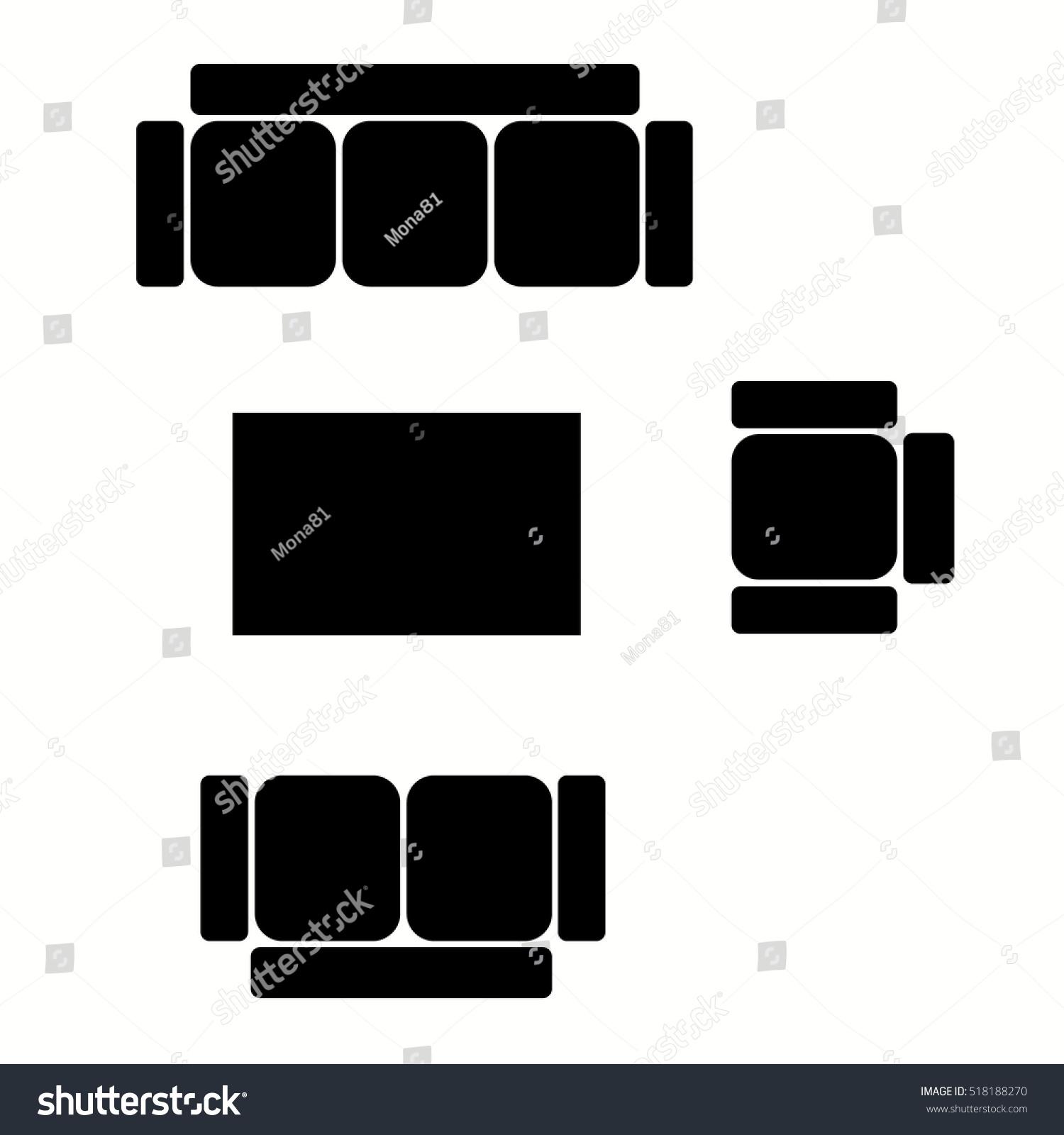 Top View Living Room Furniture Symbols Stock Photo (Photo, Vector ...