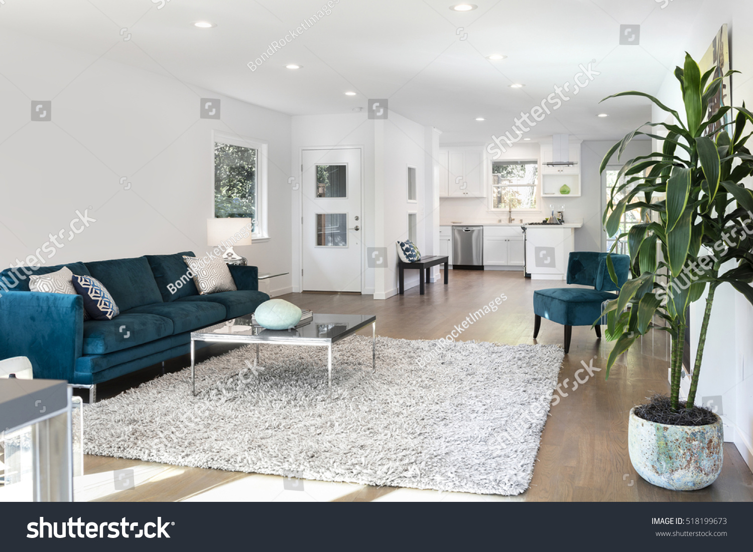 Beautiful Large Living Room Interior With Hardwood Floors, Fluffy Rug And  Designer Furniture. Part 88