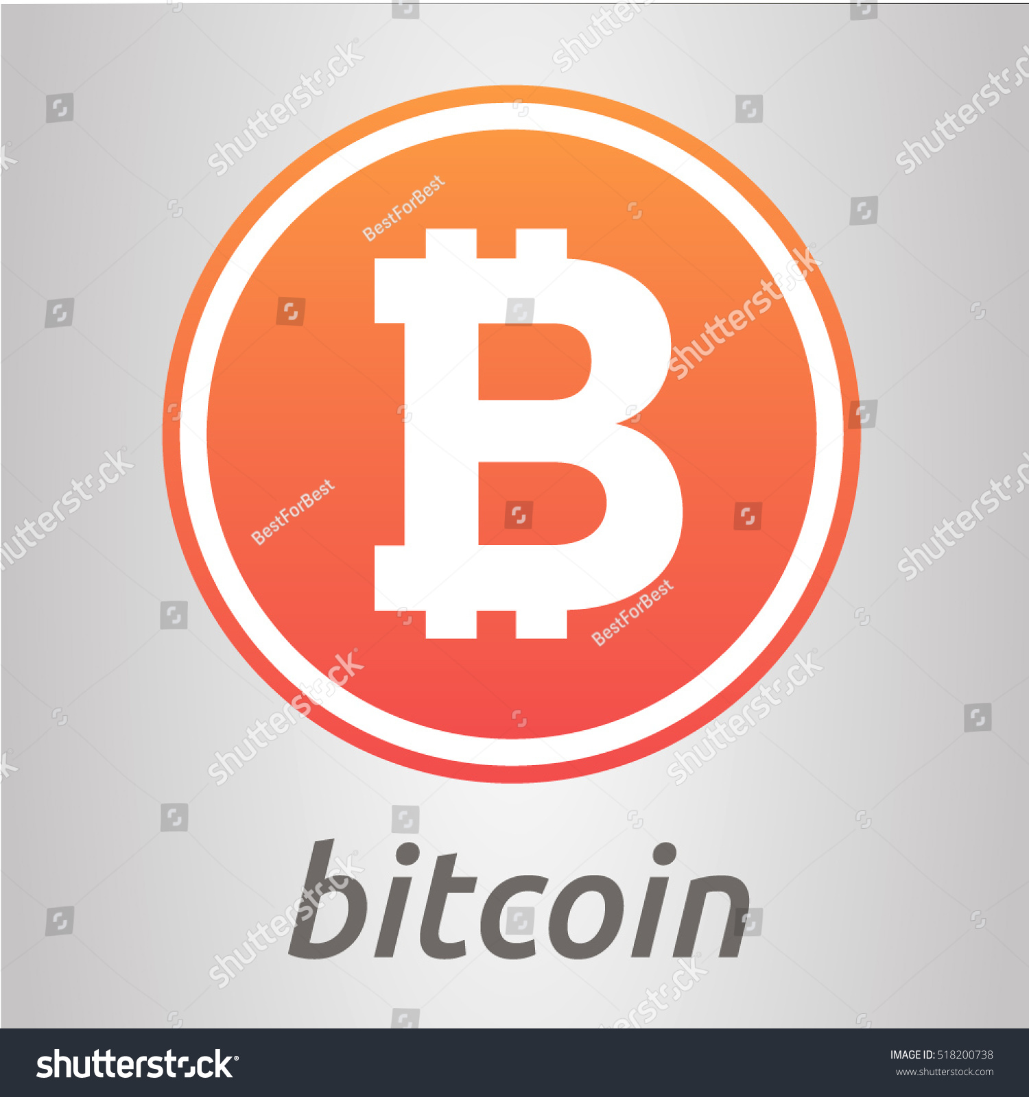 Cripto currency bitcoin flat vector logo bitcoin icon for web bitcoin logo sticker for print