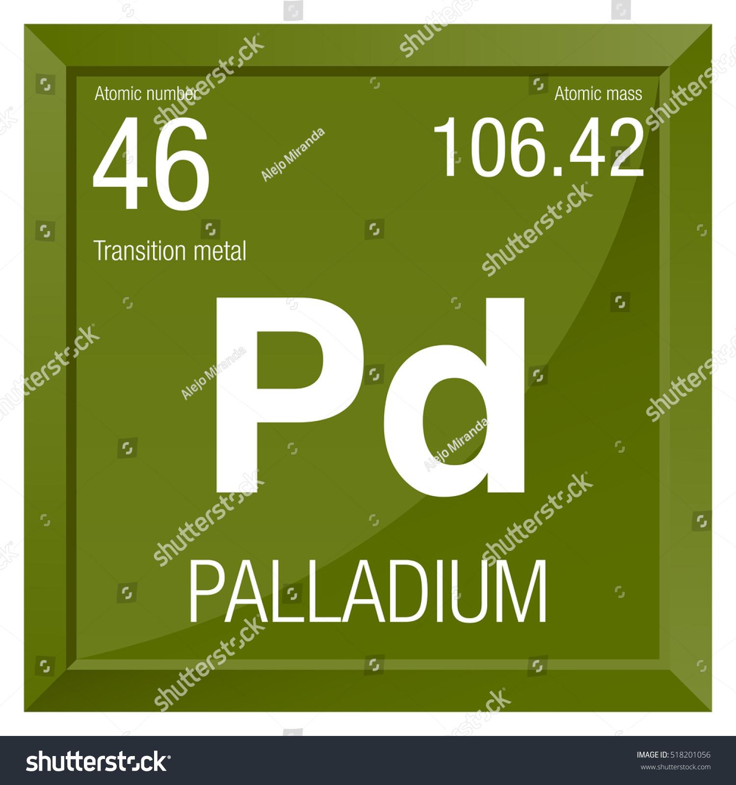 Palladium Symbol Element Number 46 Periodic Stock Vector Royalty