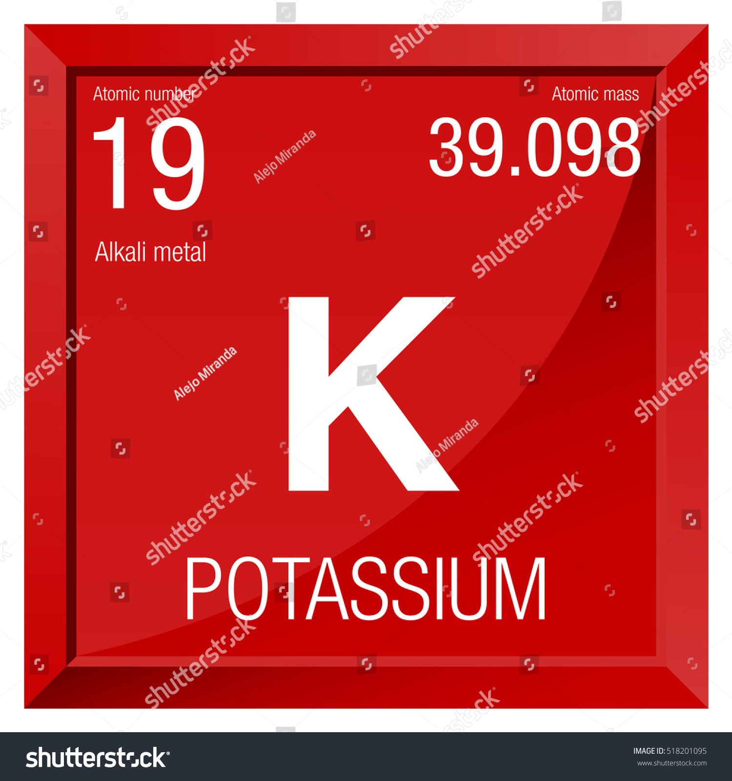 Potassium Symbol Element Number 19 Periodic Stock Vector Royalty