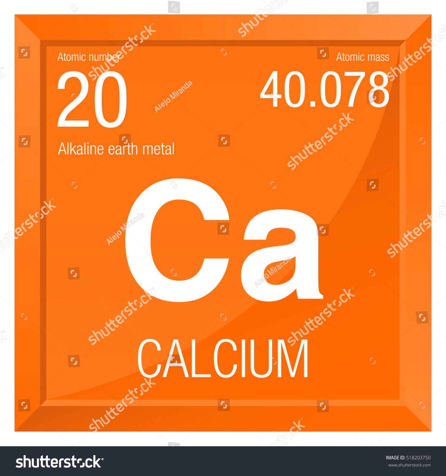 Calcium Symbol Element Number 20 Periodic Stock Vector Royalty Free