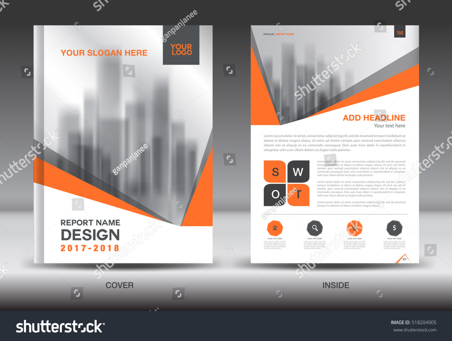 orange cover annual report brochure flyer template creative design orange cover annual report brochure flyer template creative design front and inside page layout