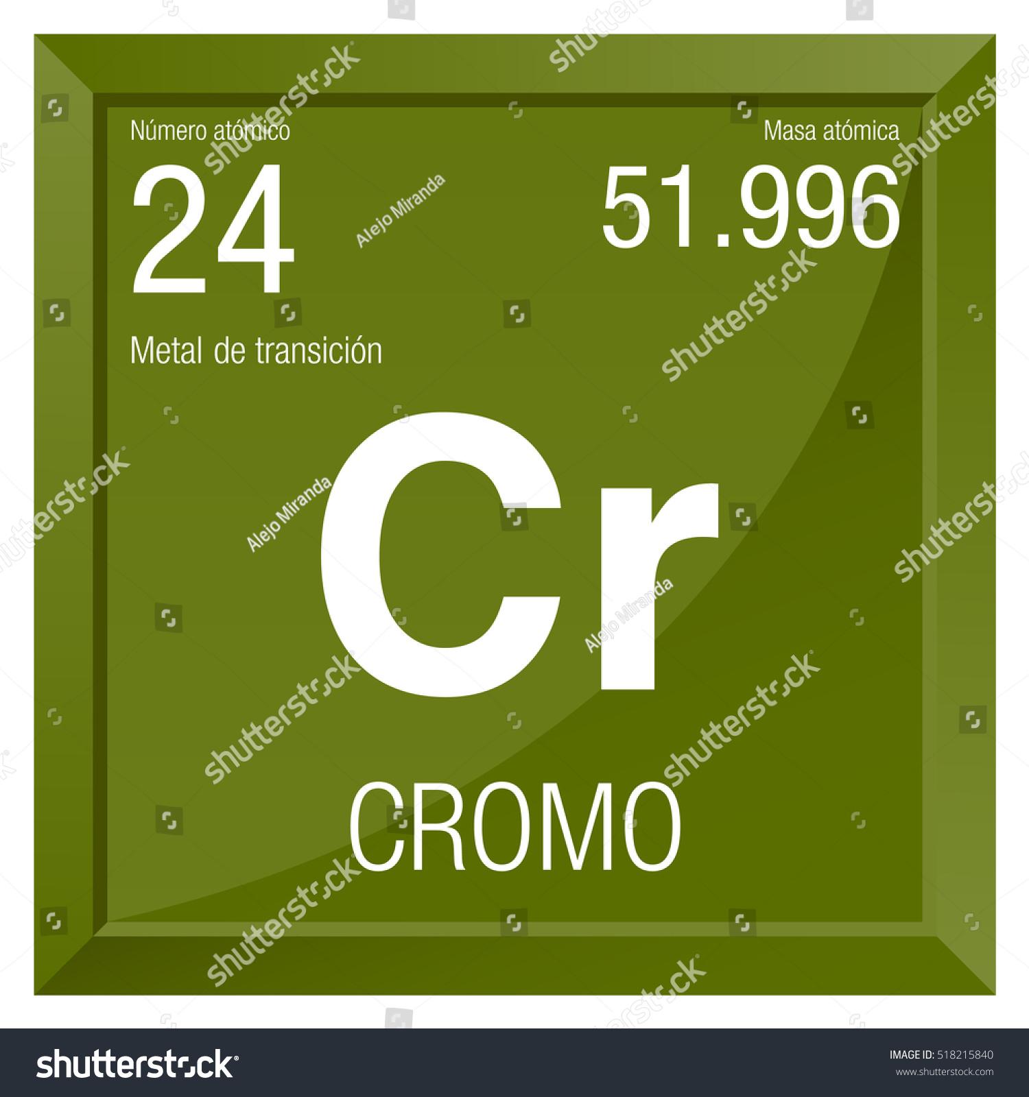 Cromo Symbol Chromium Spanish Language Element Stock Vector 2018