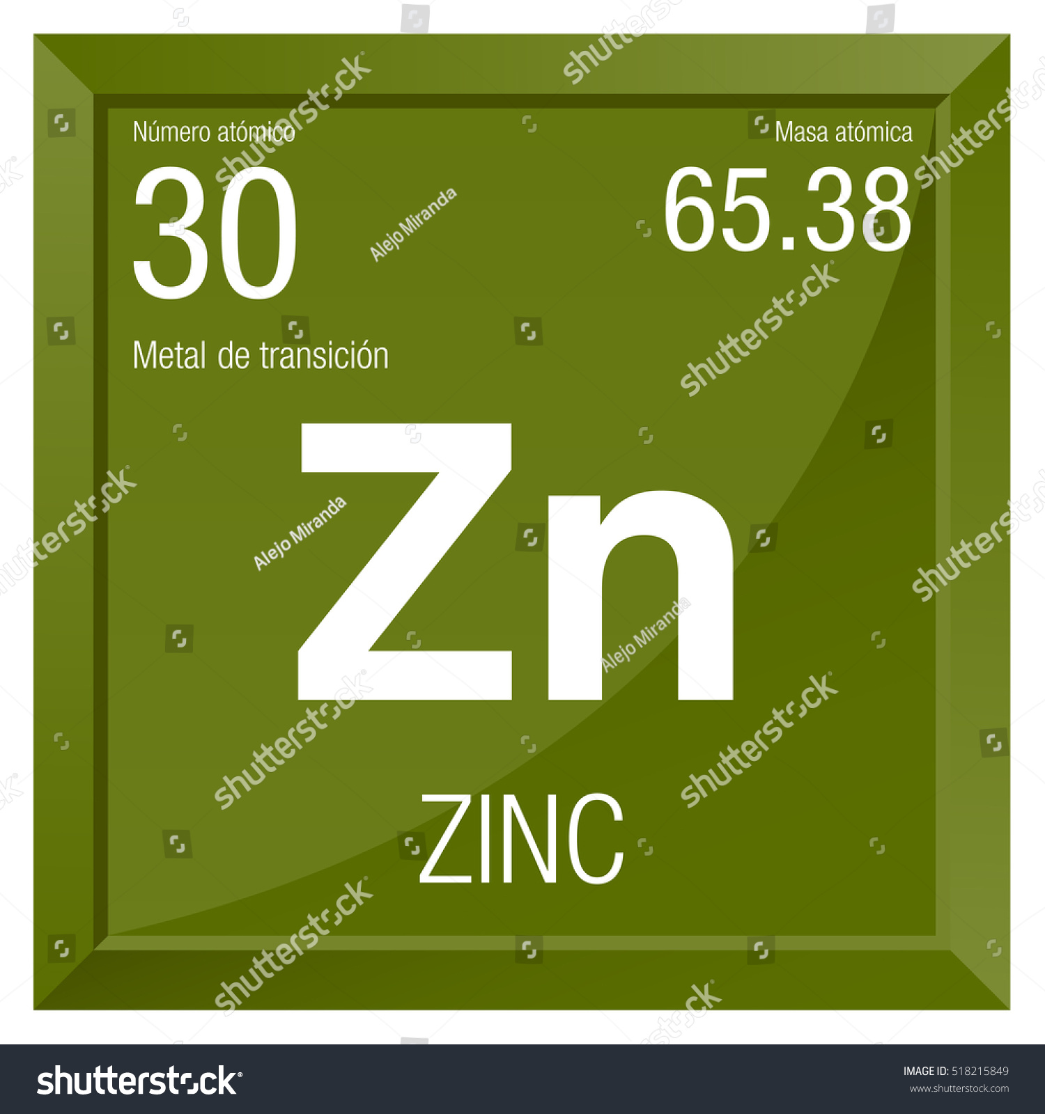 Zinc Symbol Zinc Spanish Language Element Stock Photo (Photo, Vector ...