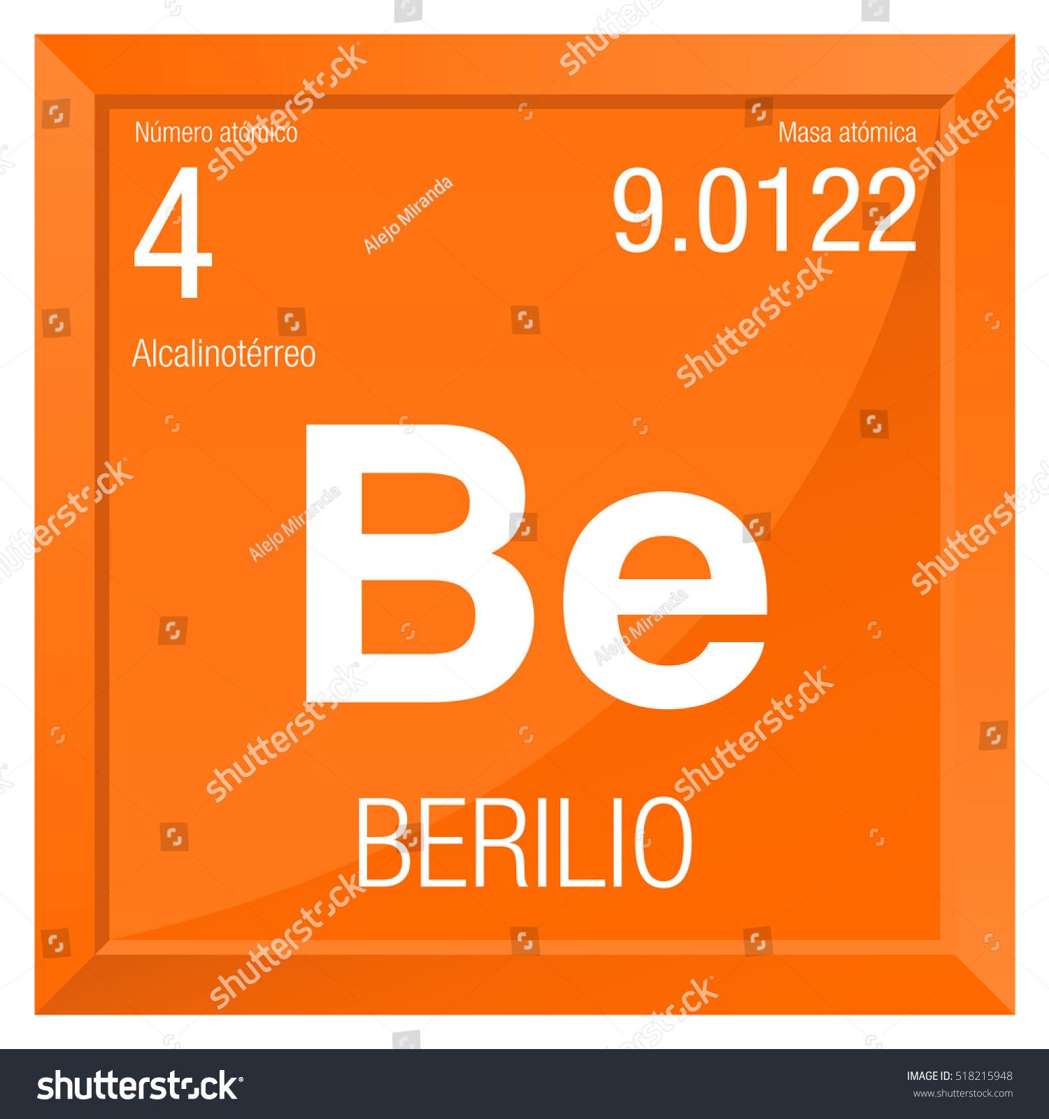 Berilio symbol beryllium spanish language element stock vector berilio symbol beryllium in spanish language element number 4 of the periodic table of urtaz Image collections