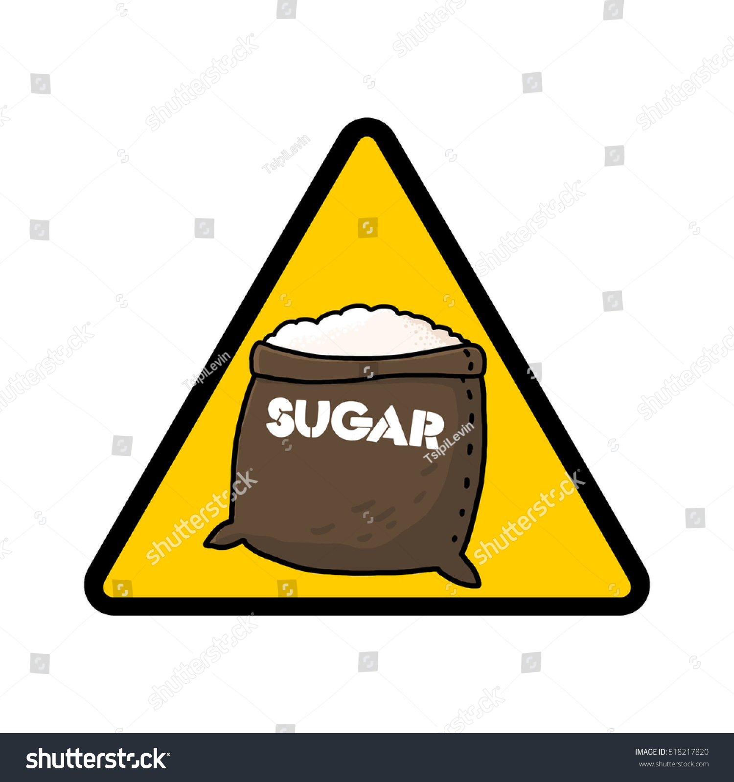 Sugar Warning Sign Caution Symbol Sugar Stock Illustration 518217820