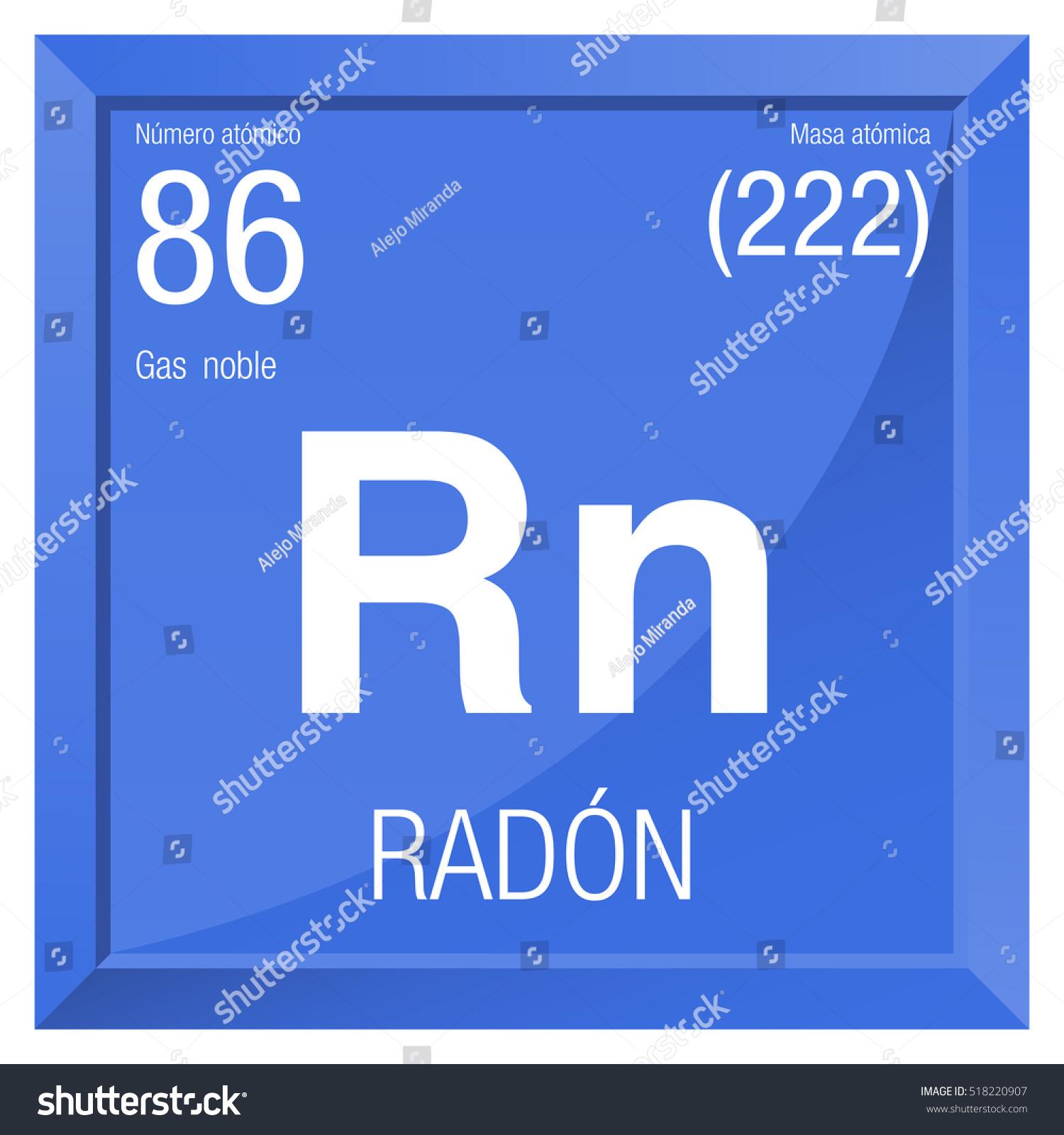 Radon symbol radon spanish language element stock vector 518220907 radon symbol radon in spanish language element number 86 of the periodic table of buycottarizona