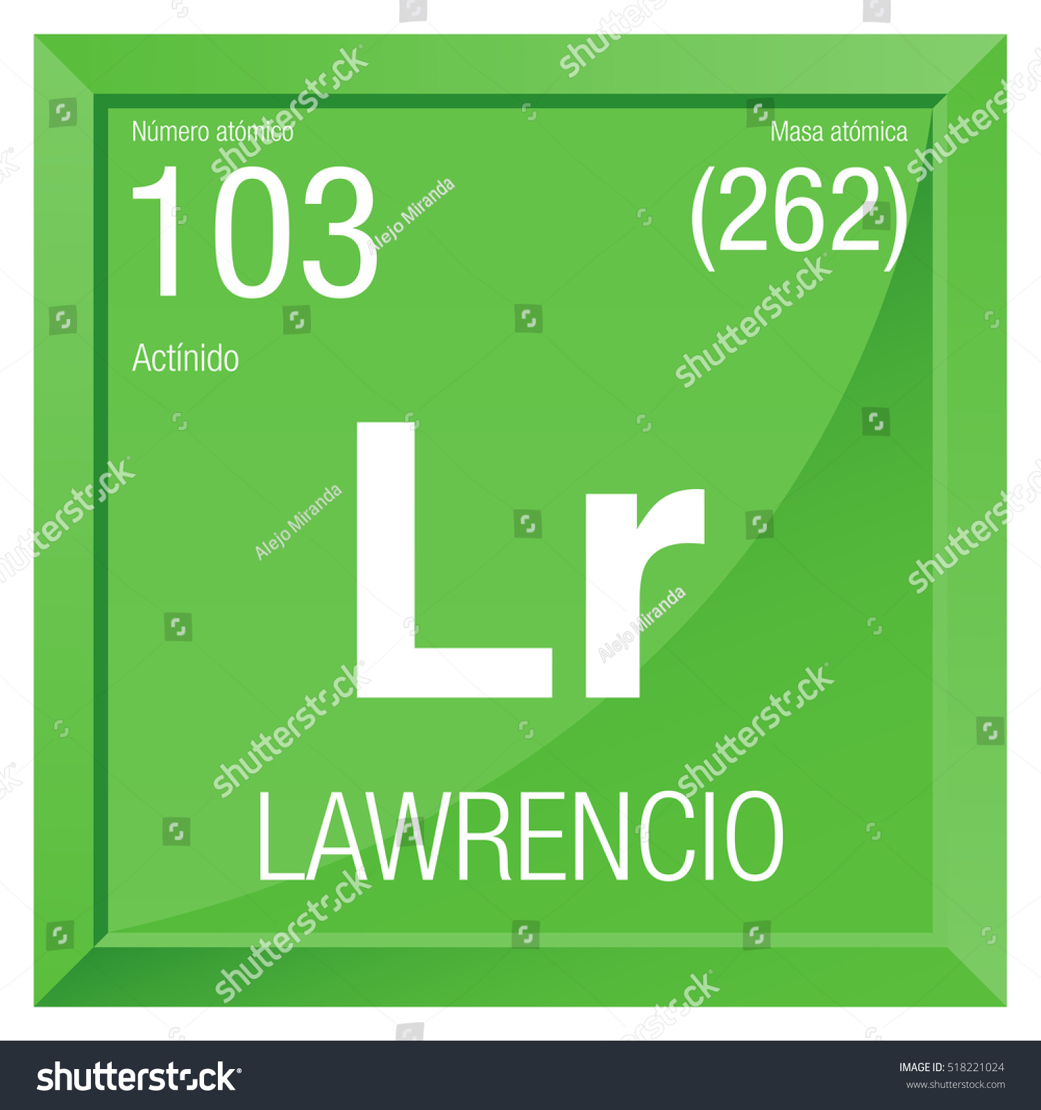Lawrencio Symbol Lawrencium Spanish Language Element Stock Vector ...
