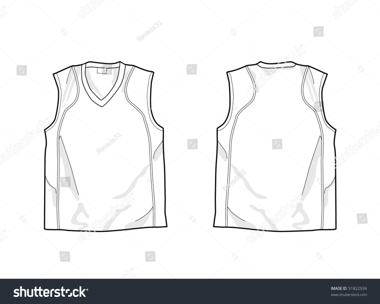 White sleeveless shirt template front back stock vector 51822934 white sleeveless shirt template front and back pronofoot35fo Images