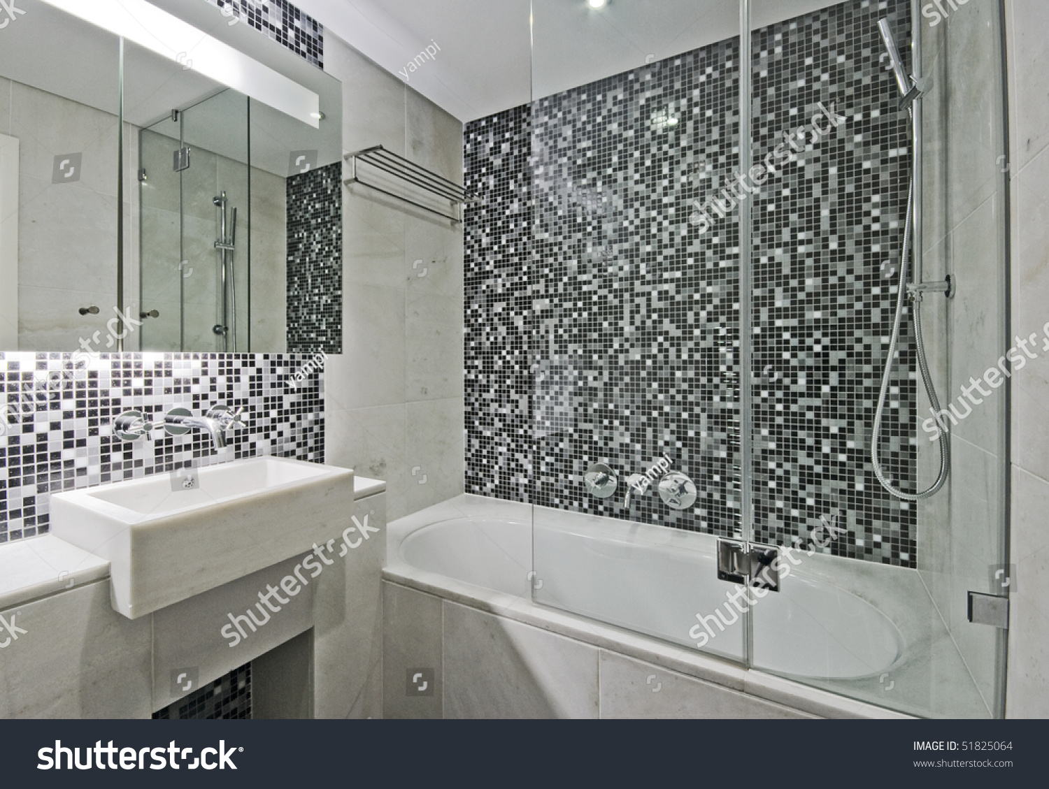 24 Mosaic Bathroom Ideas Designs: Modern Luxury Bathroom Large Bath Tub Stock Photo 51825064