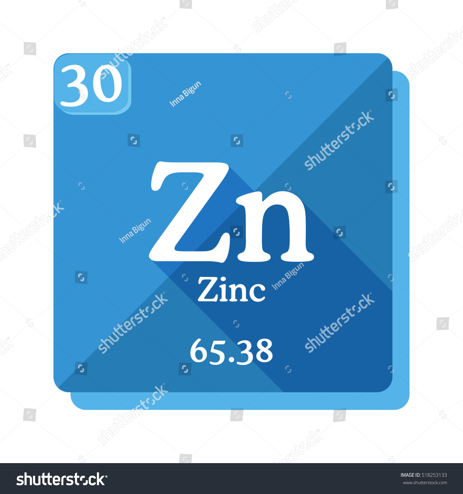 Zinc zn element periodic table flat stock vector 518253133 zinc zn element of the periodic table flat icon with long shadow gamestrikefo Image collections