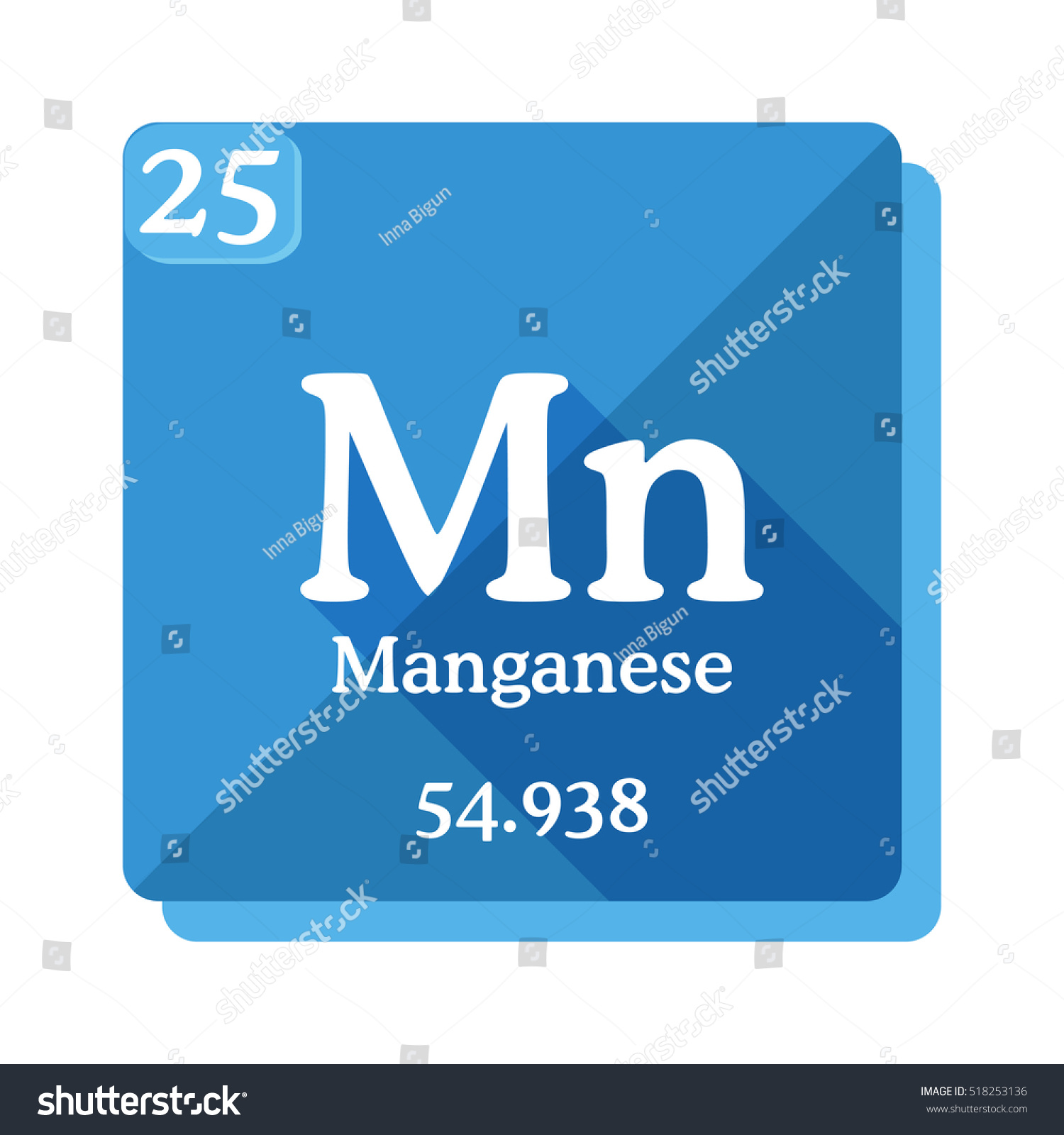 Manganese mn element periodic table flat stock vector 518253136 manganese mn element of the periodic table flat icon with long shadow gamestrikefo Images