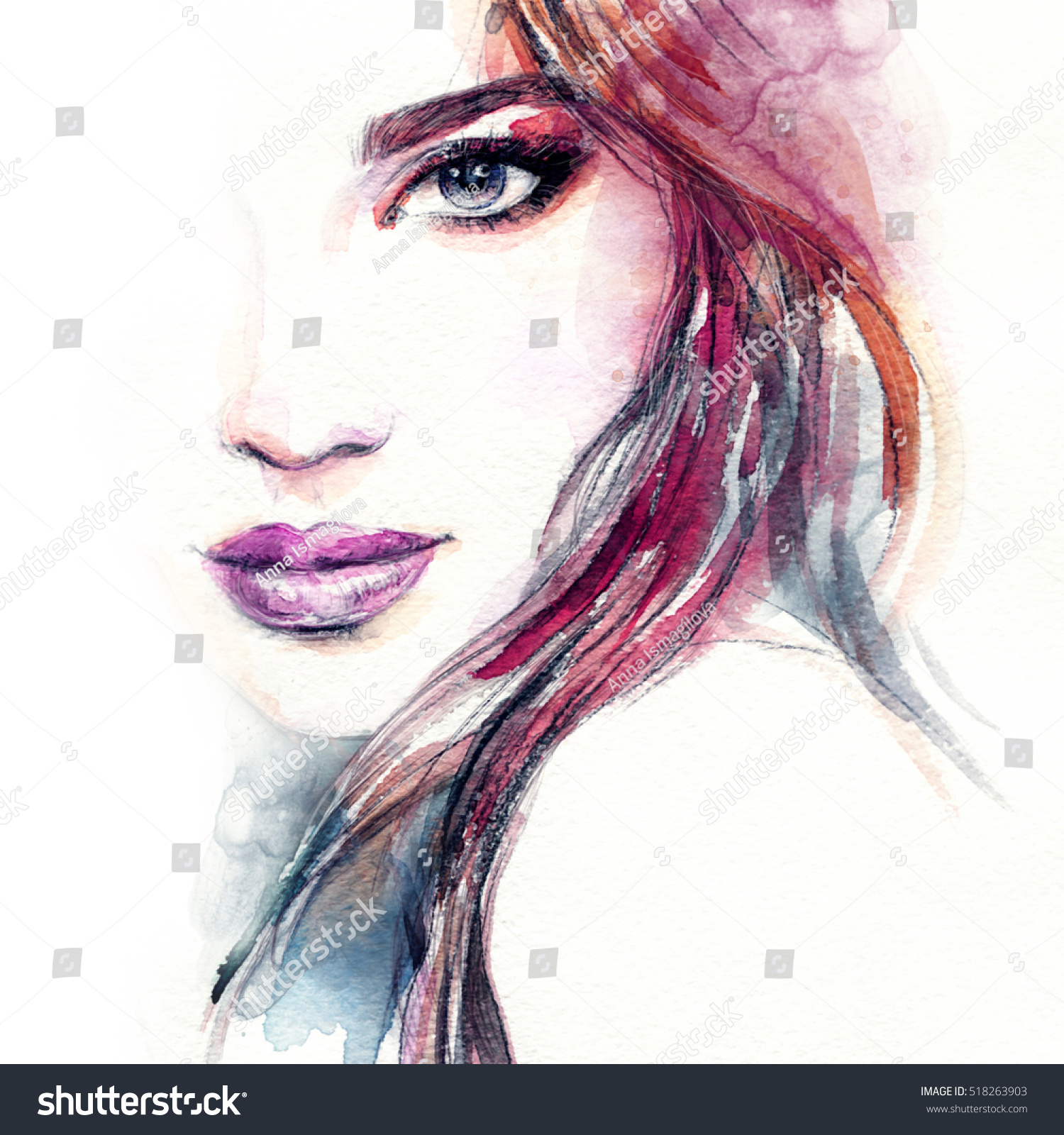 Abstract Woman Face Fashion Illustration Watercolor 518263903