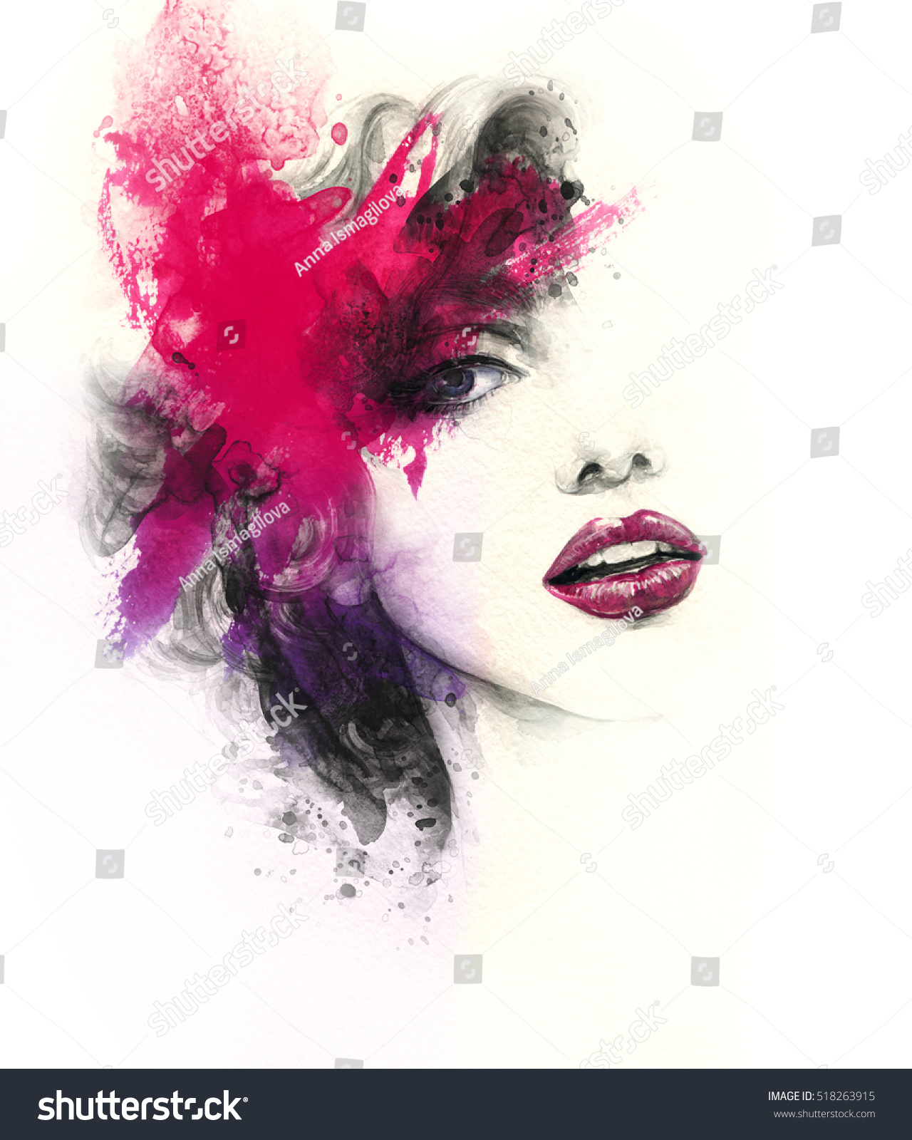 Abstract Woman Face Fashion Illustration Watercolor Stock ...