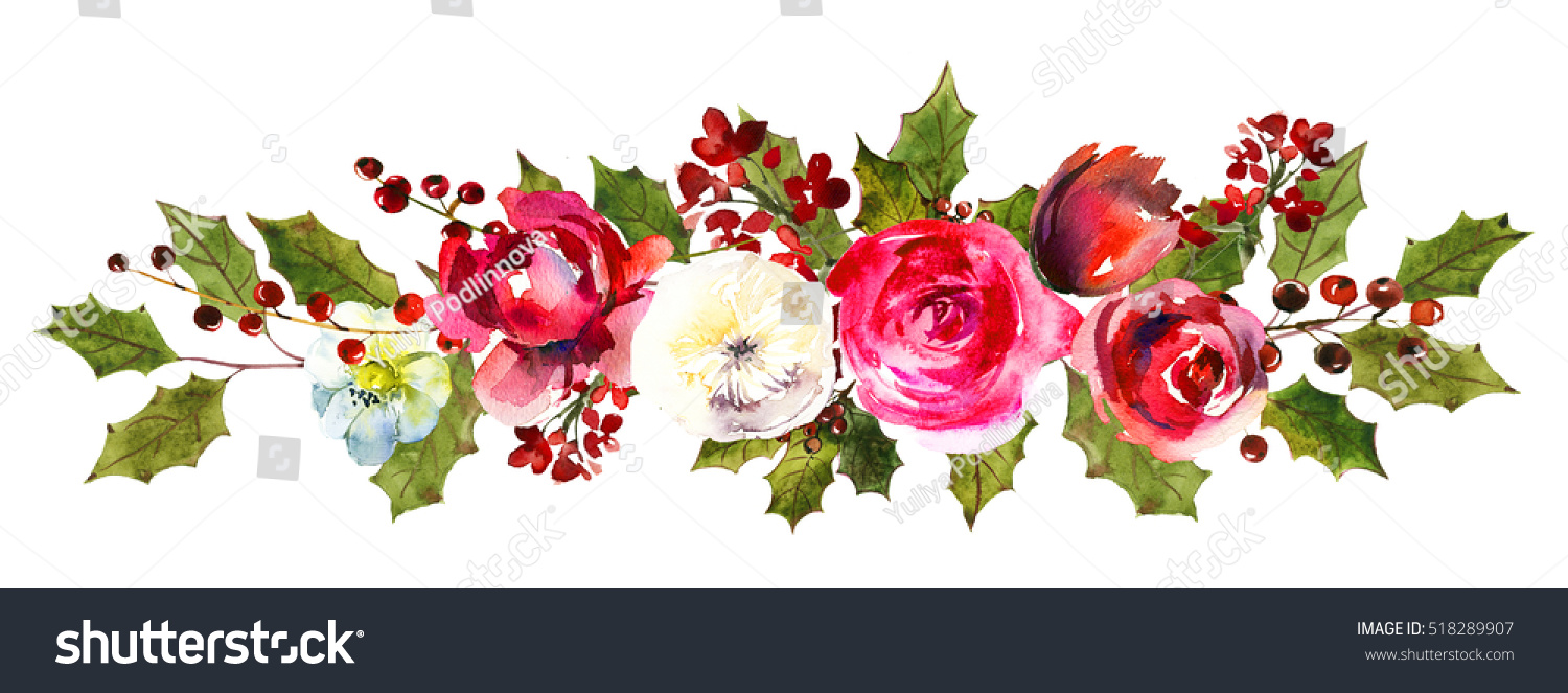 Holly steams border red white flowers stock illustration 518289907 holly steams border red white flowers berries leaves christmas watercolor drawing isolated on white background mightylinksfo Gallery