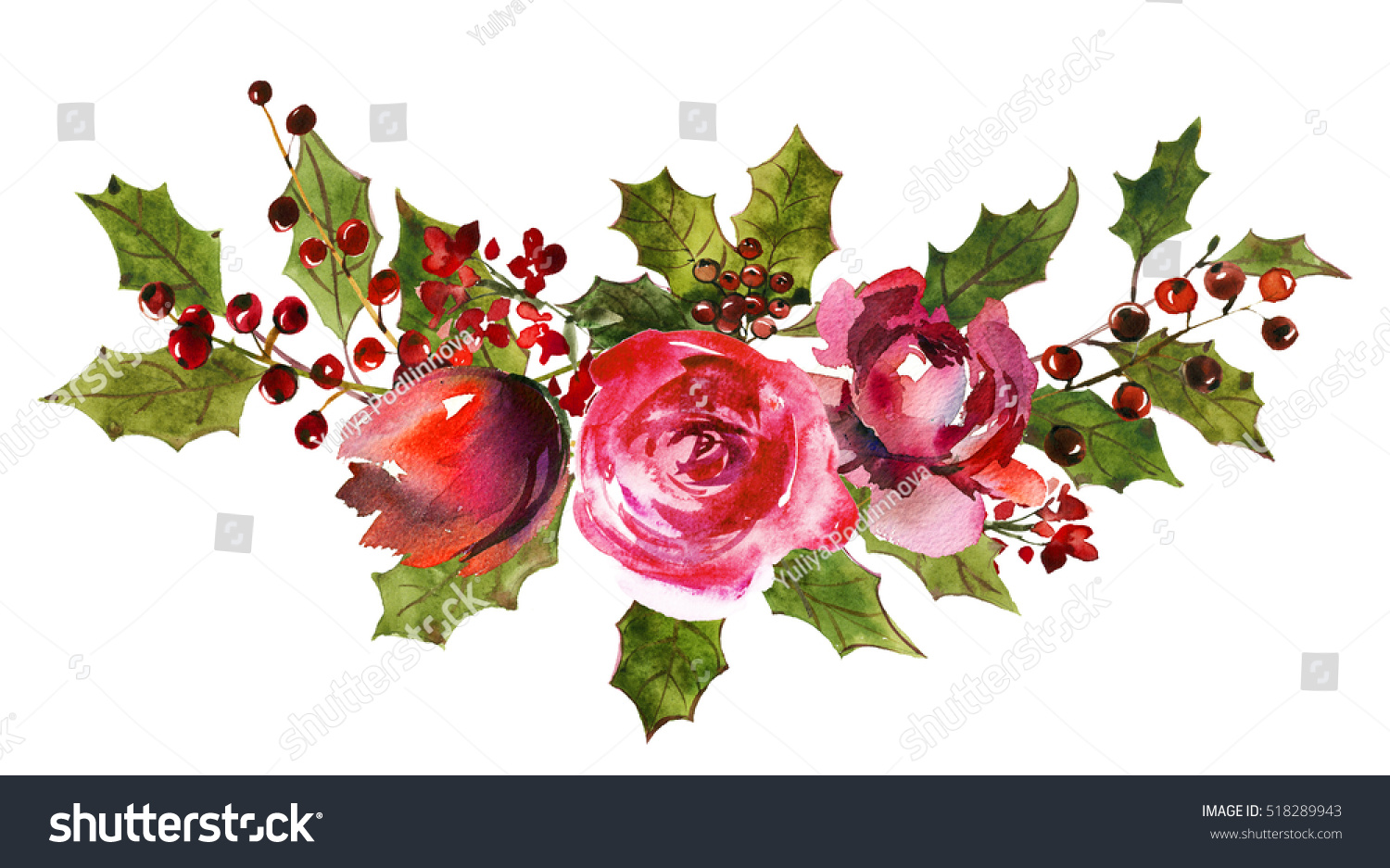 holly steams bouquet red white flowers stock illustration 518289943