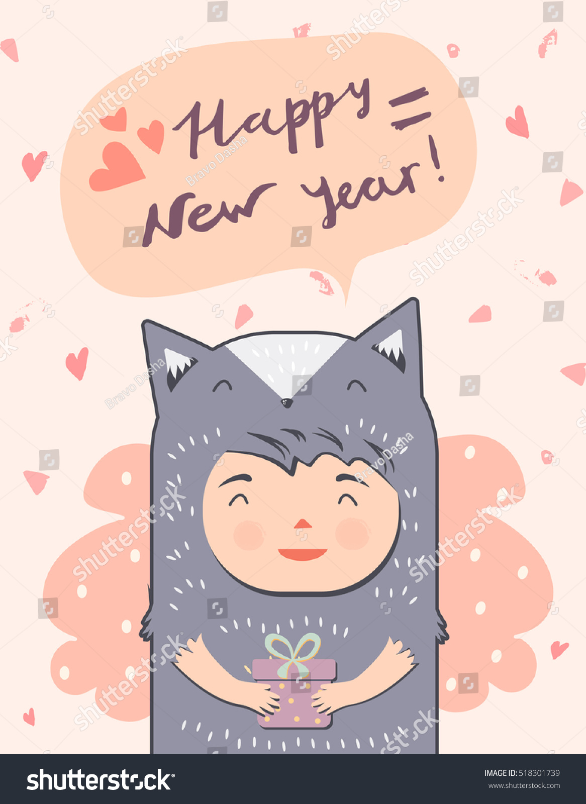 happy new year card with dressed up cat girl greeting card congratulatory design