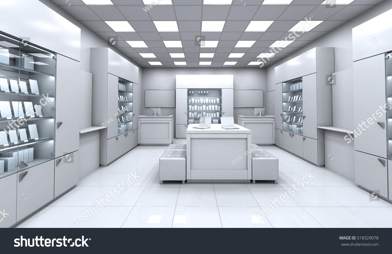 Interior mobile shop 3d illustration stock illustration 518329078 shutterstock - Mobile shop interior design ideas ...