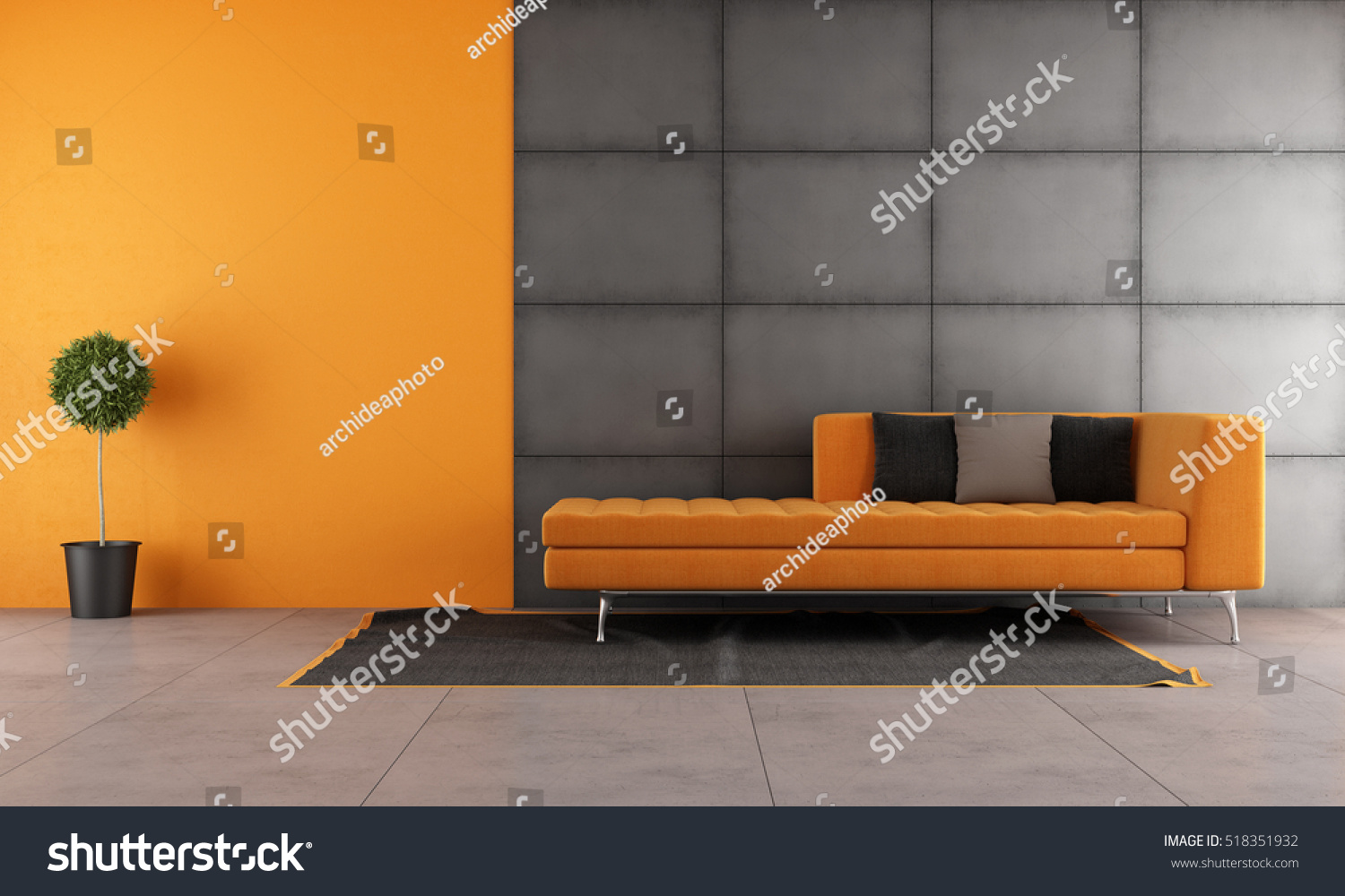Black And Orange Living Room With Contemporary Sofa   3d Rendering