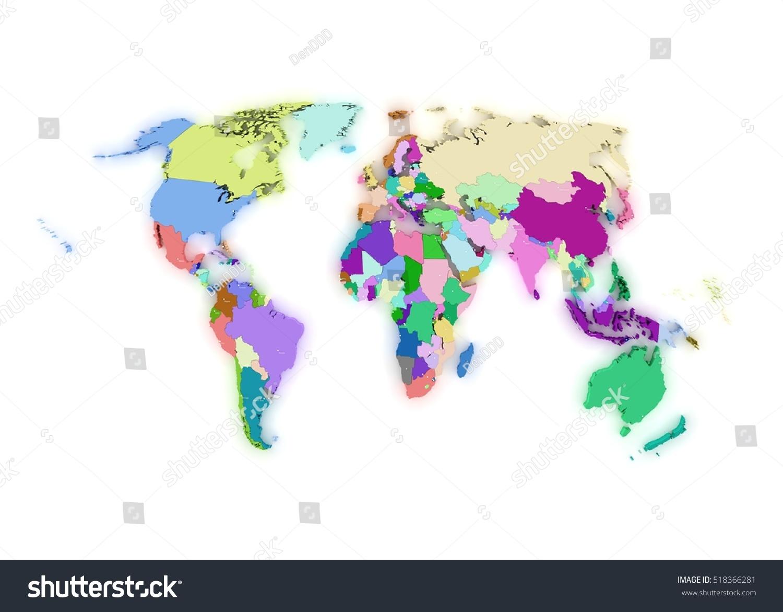World political map 3d render stock illustration 518366281 world political map 3d render gumiabroncs Images
