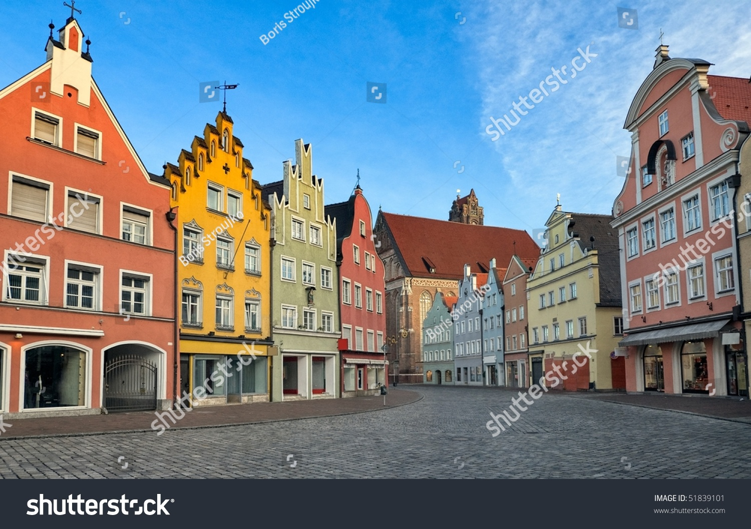 Picturesque Medieval Gothic Houses Old Bavarian Stock