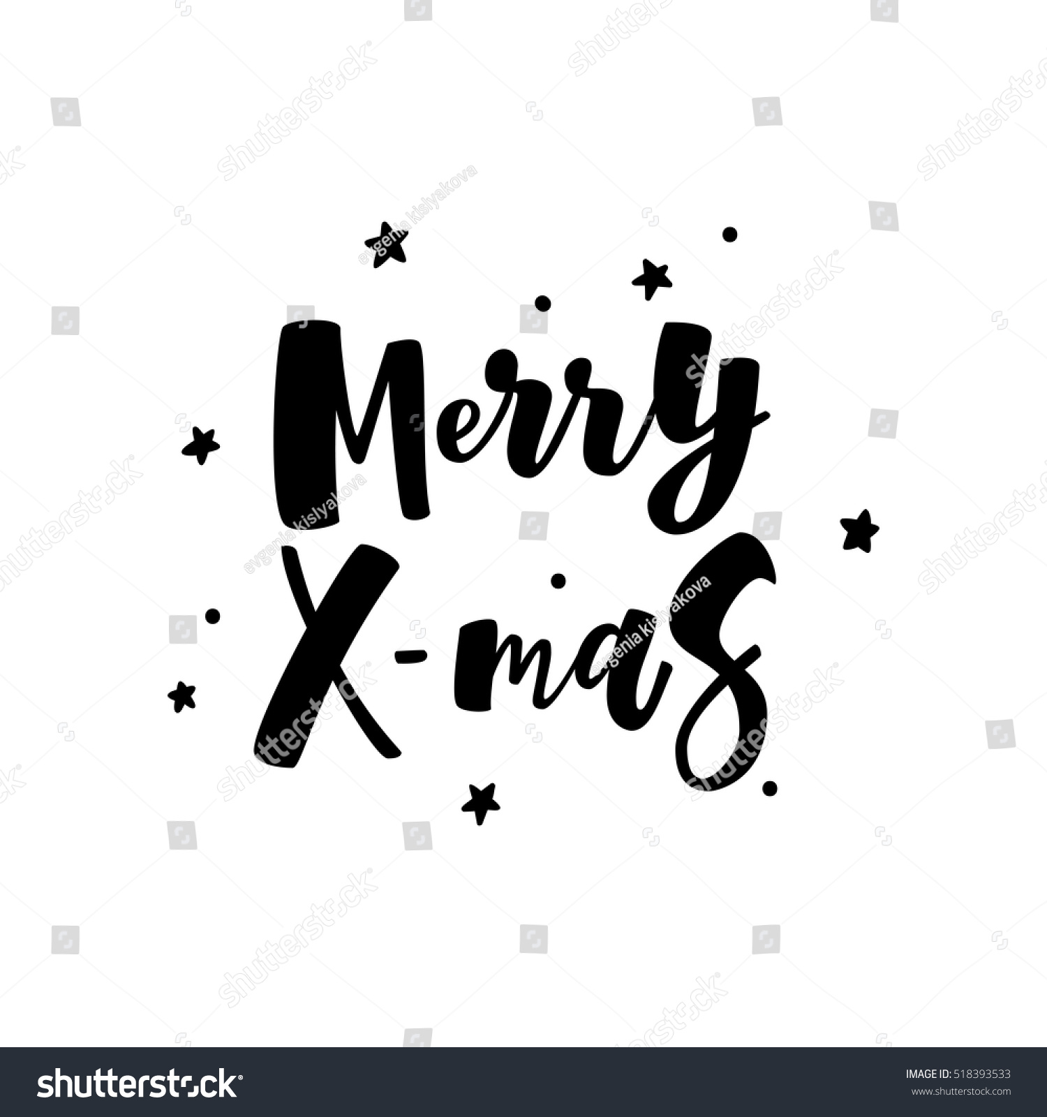 Merry Christmas Greeting Card Black White Stock Vector Royalty Free