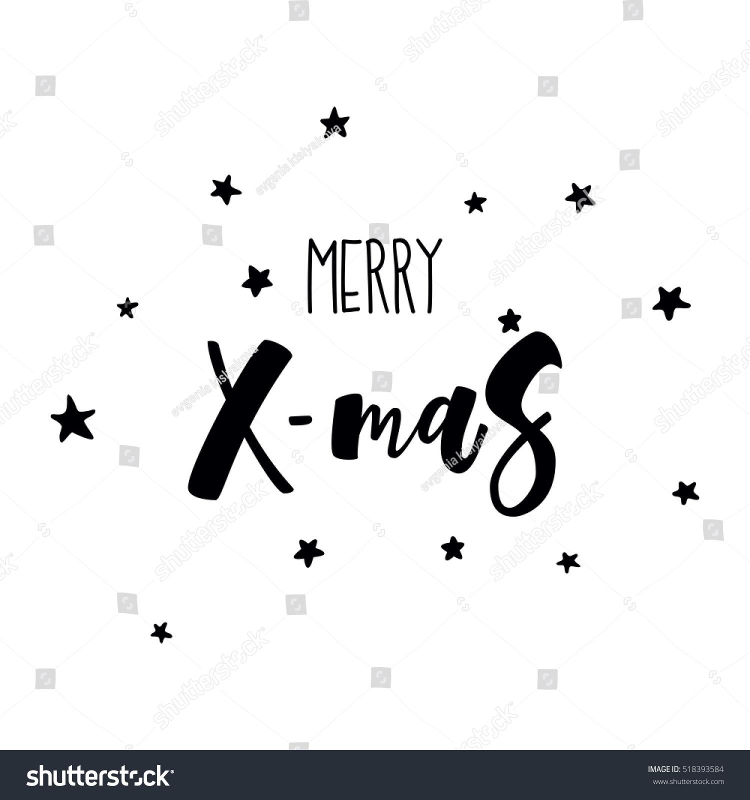Merry Xmas Greeting Card Black White Stock Vector Royalty Free