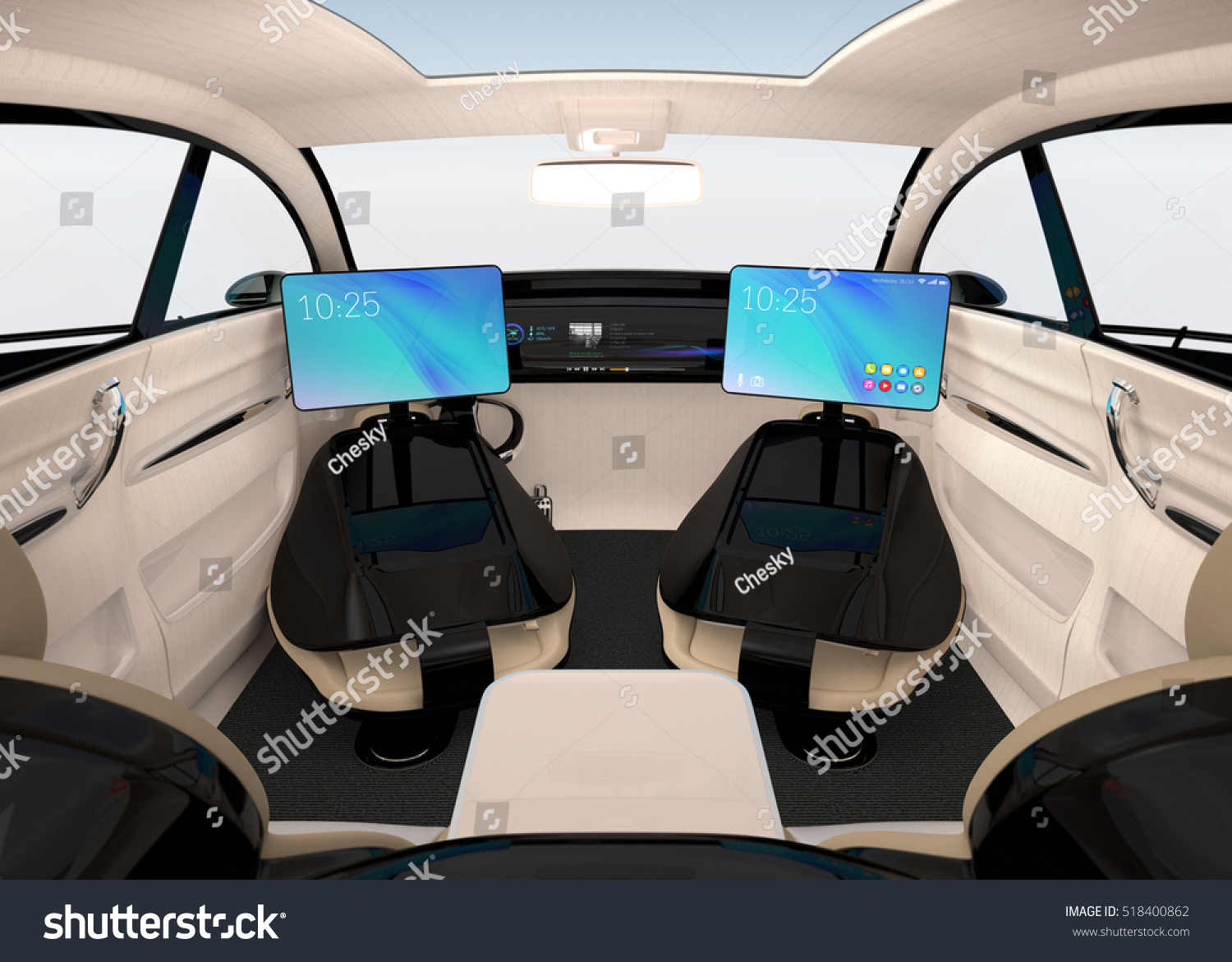 Autonomous Car Interior Design Concept For New Business Work Style When Moving On The Road