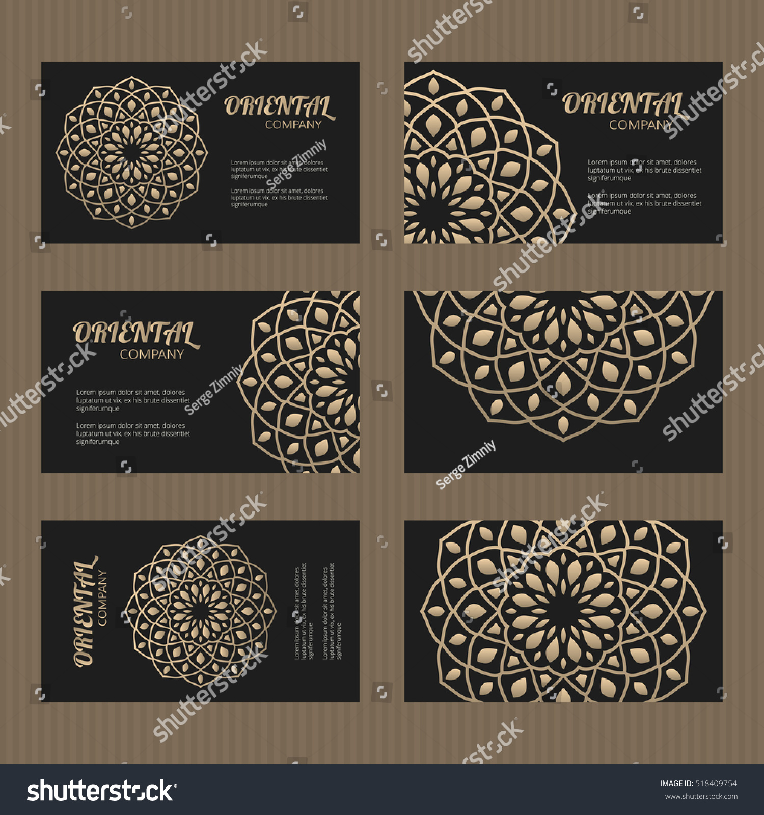 Business Card Set Golden Mandala Decorative Stock Vector 518409754 ...