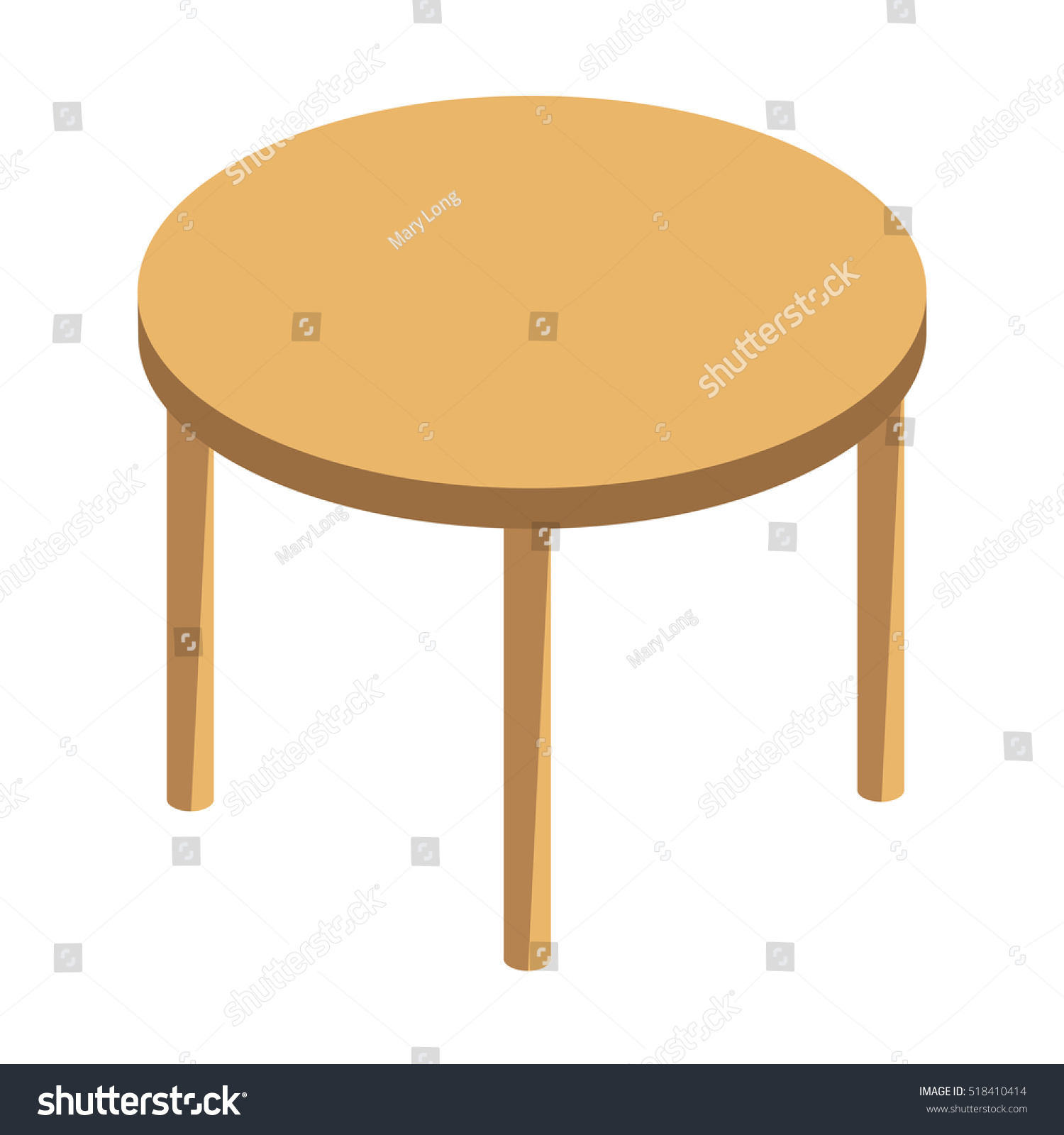 Round Wooden Table Isolated Illustration On Stock Vector 518410414  Shutterstock