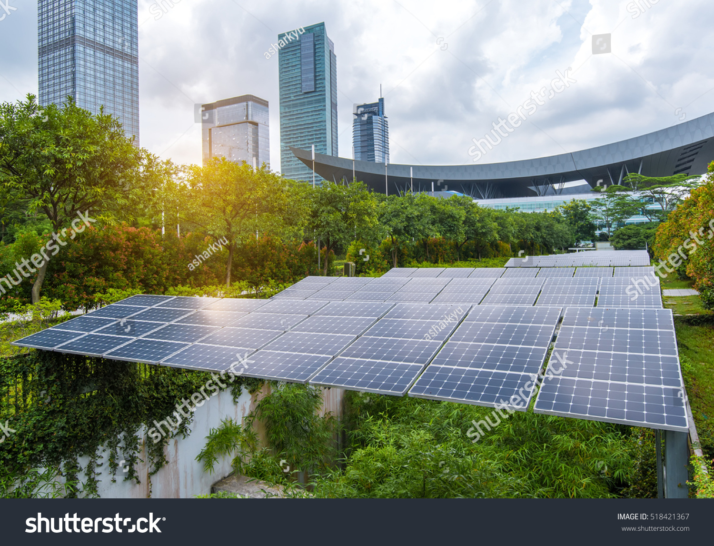 Solar Panels Park Modern City Stock Photo 518421367