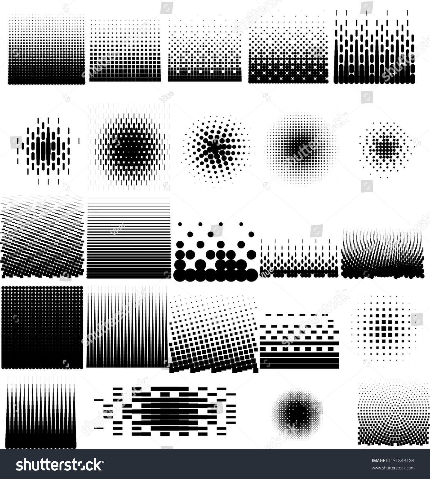 Line Art Vs Halftone : Collection set different abstract halftone art stock