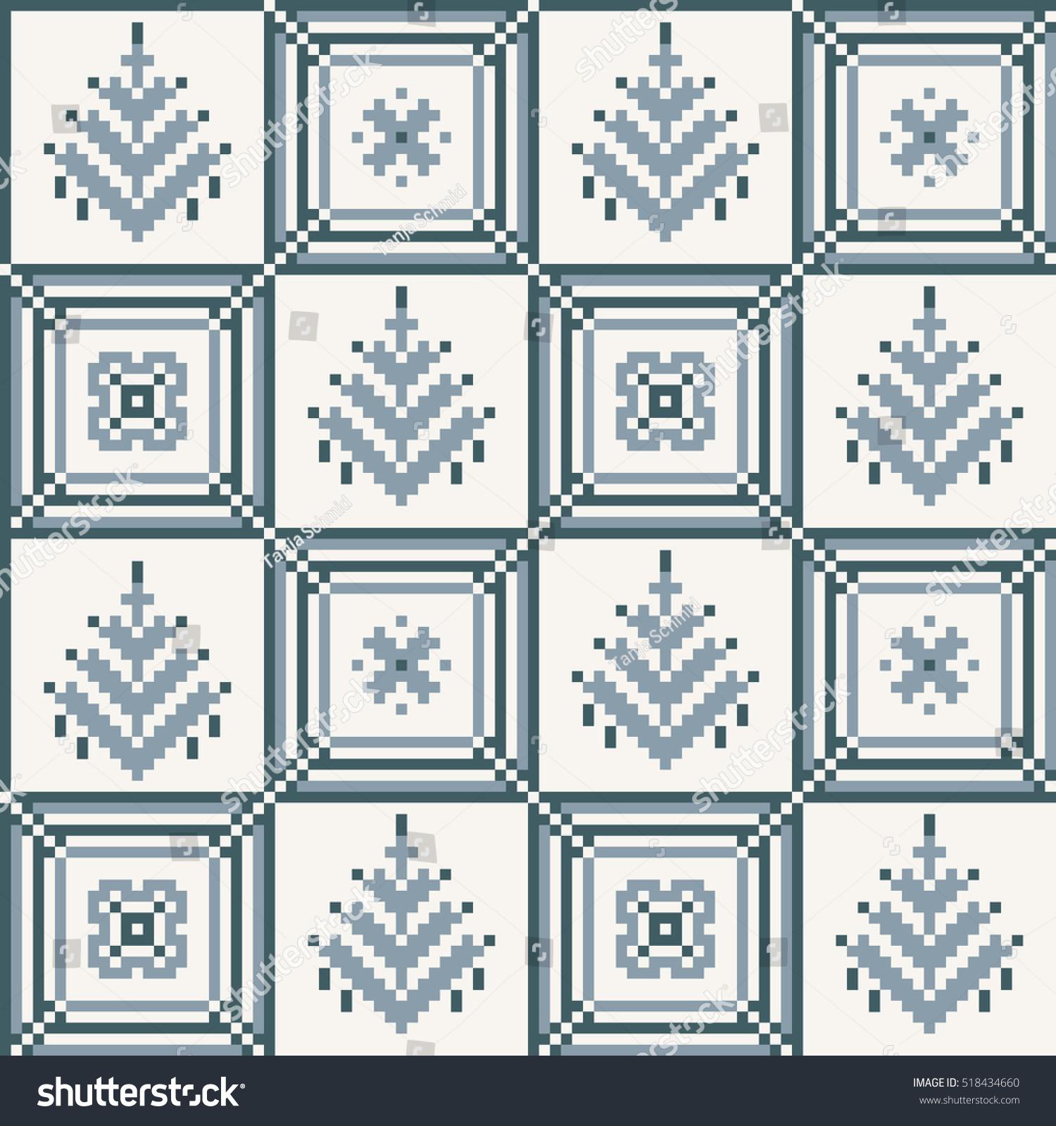 Christmas Seamless Pattern Ideal For Wrapping Paper Scandinavian Folk Decor