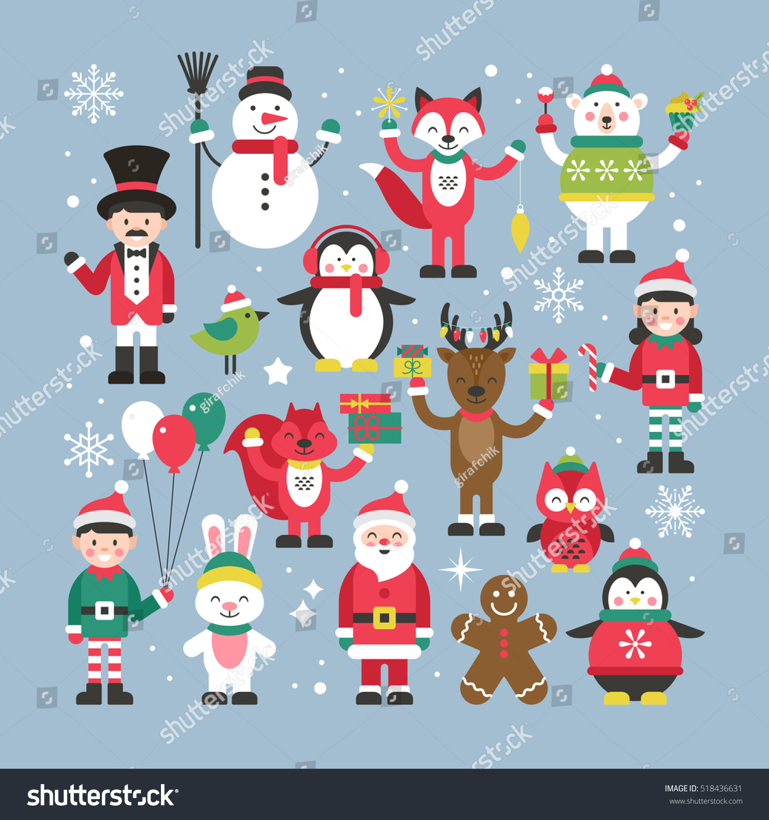 Character Design Web : Set cute christmas characters graphic web stock vector