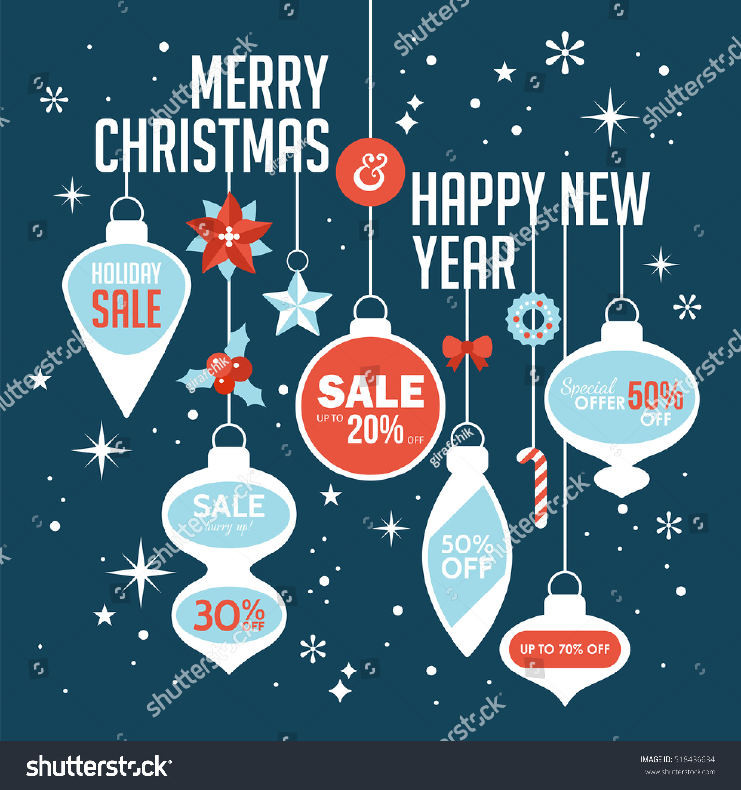 Christmas Sale Banner Design Template Vector Stock Vector