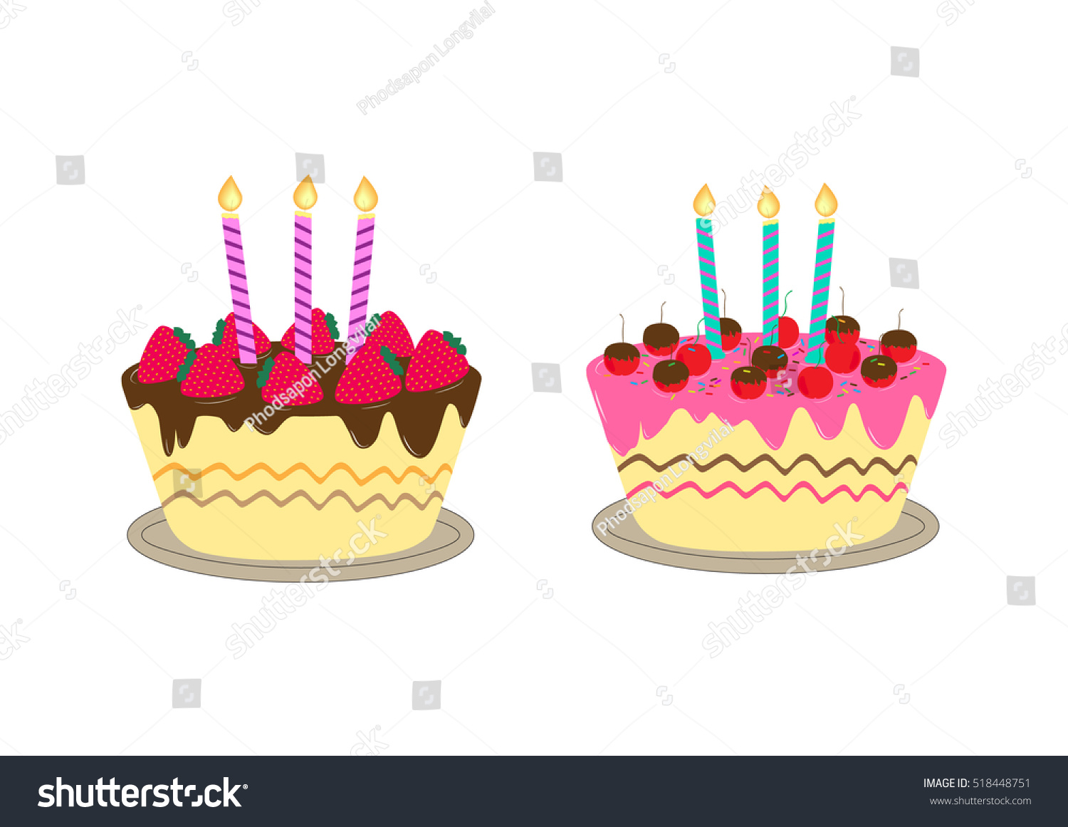 Birthday Cake Candle Stock Vector 518448751 Shutterstock